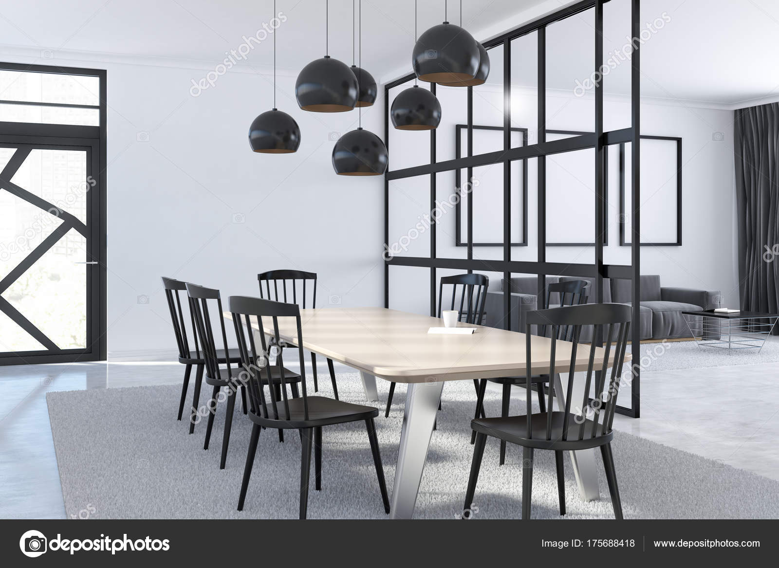 Eetkamer wit interieur — Stockfoto © denisismagilov #175688418