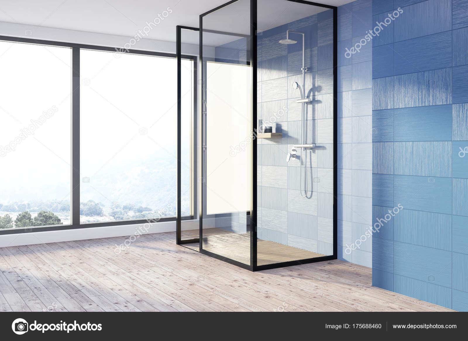 Blue bathroom, shower stall — Stock Photo © denisismagilov #175688460
