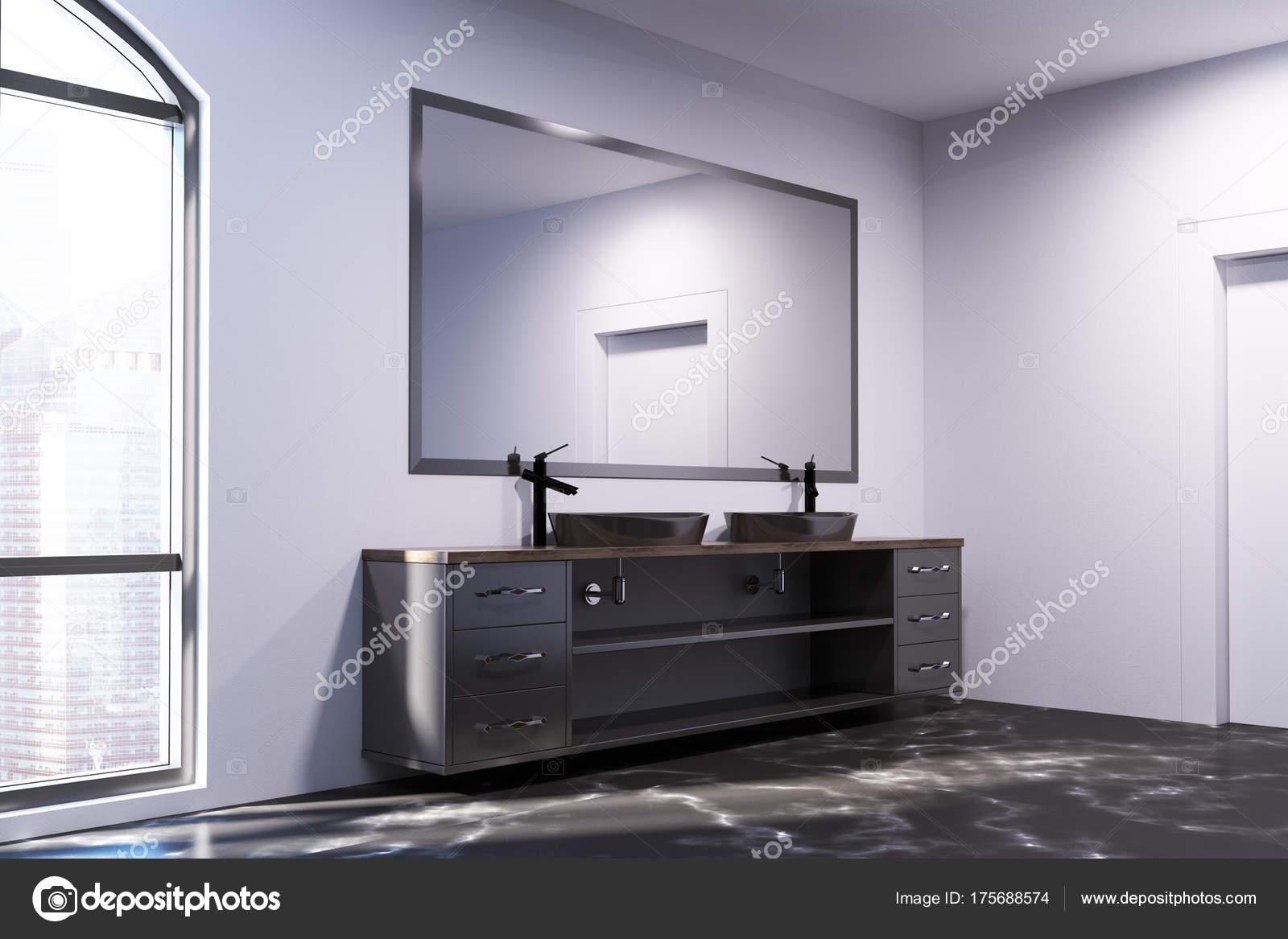 Pavimento bagno in marmo nero lavello doppio u2014 foto stock
