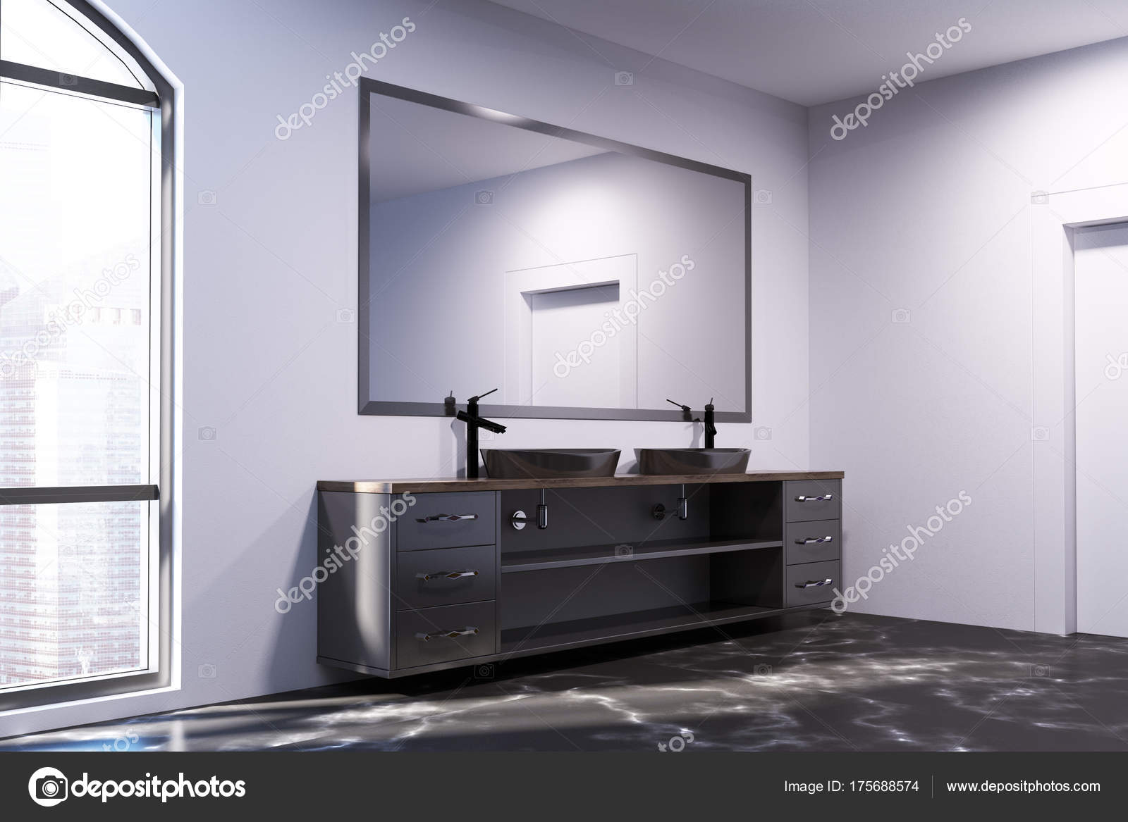 Marmeren Badkamer Vloer : Zwarte marmeren badkamervloer dubbele wastafel u stockfoto