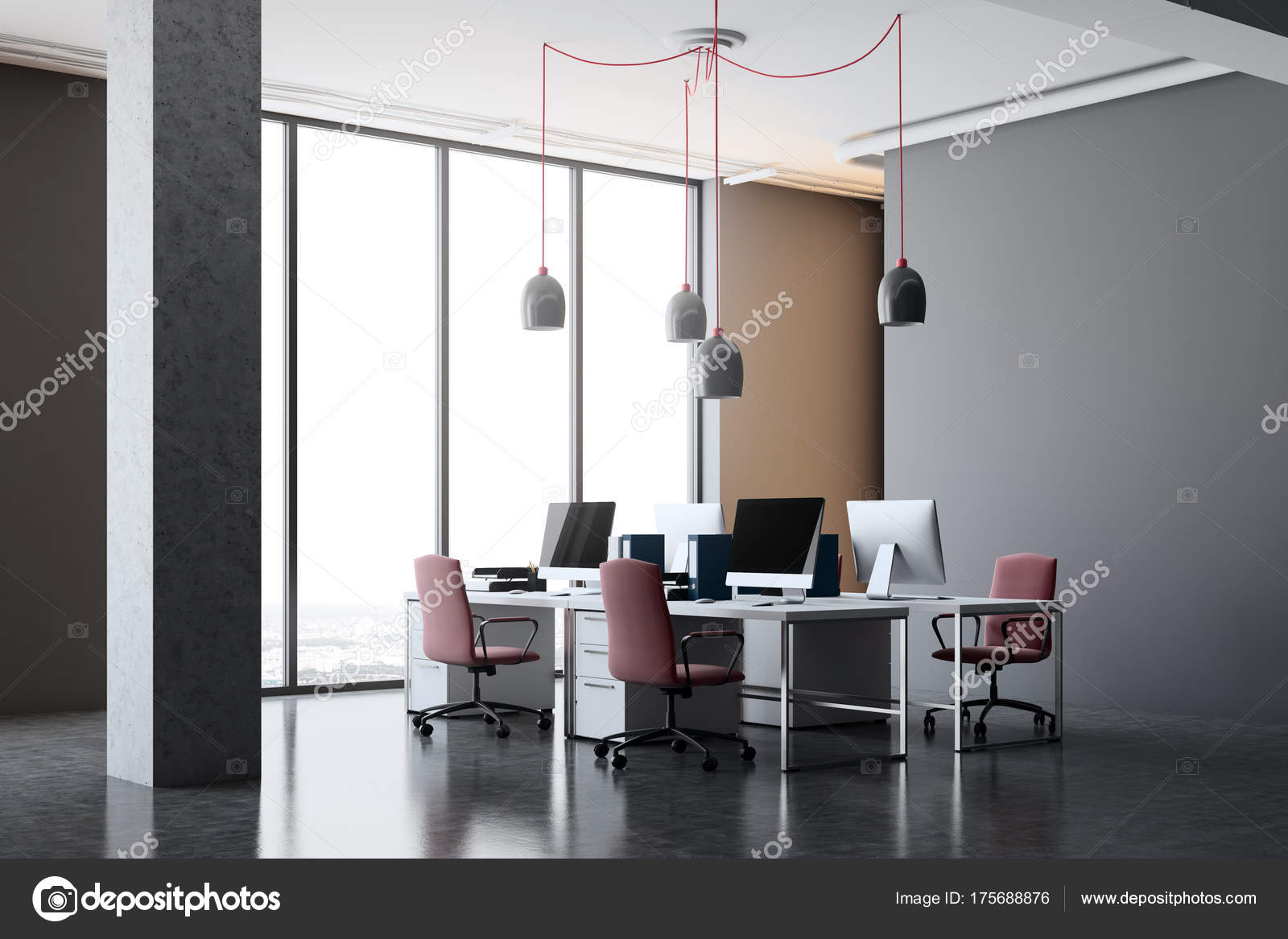office corner. Dark Gray Office Corner With Columns, A Concrete Floor, Panoramic Windows And Computer Desks Red Chairs. 3d Rendering Mock Up \u2014 Photo By Denisismagilov L