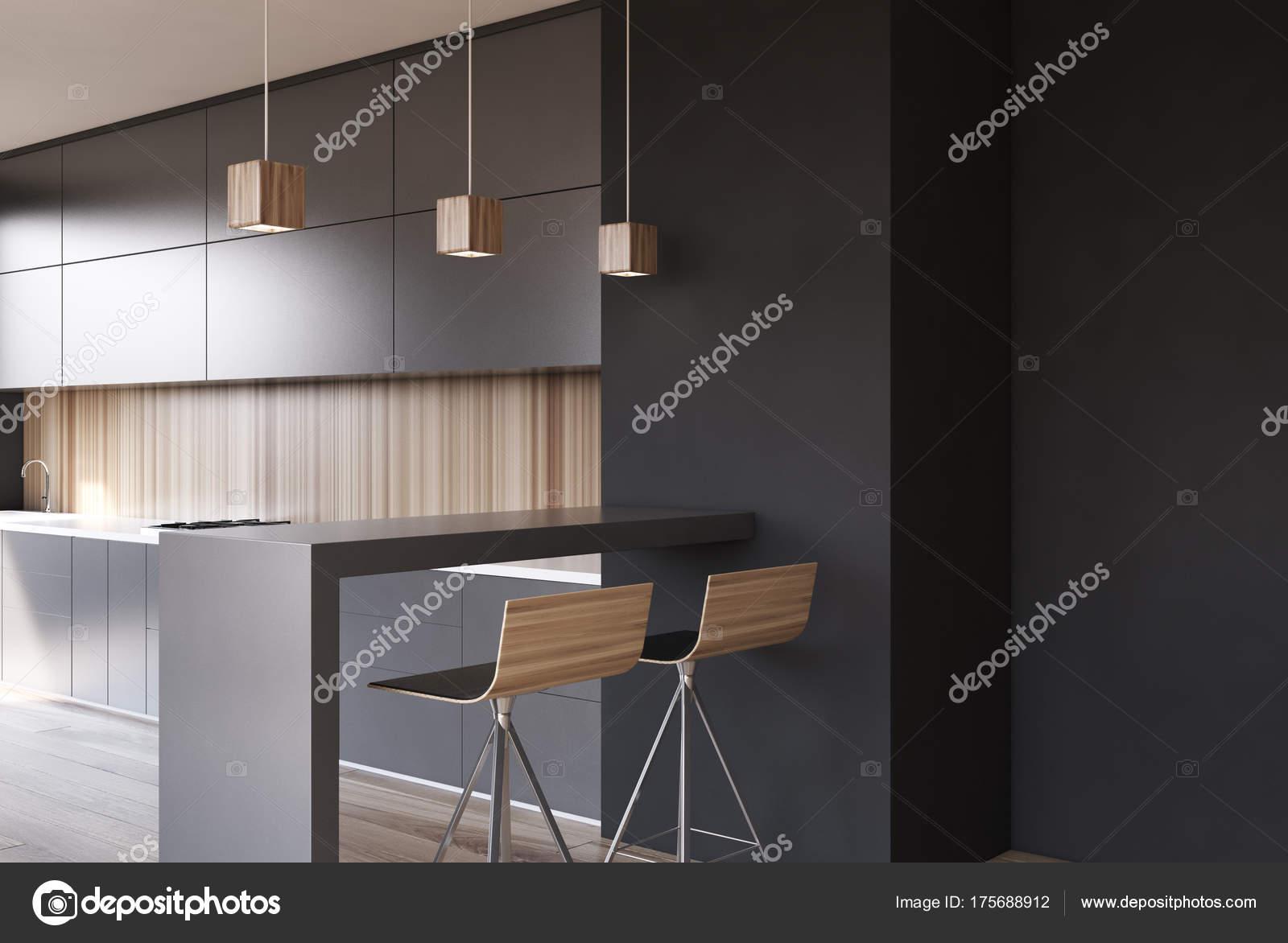 Weisse Kuche Aus Holz Grau Arbeitsplatten Seite Stockfoto