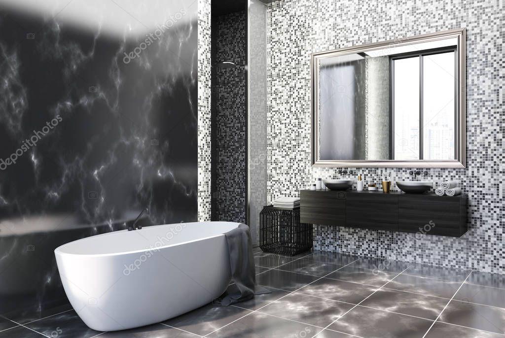 Angolo di bagno di marmo e piastrelle nero foto stock denisismagilov 175687408 - Stock piastrelle bagno ...