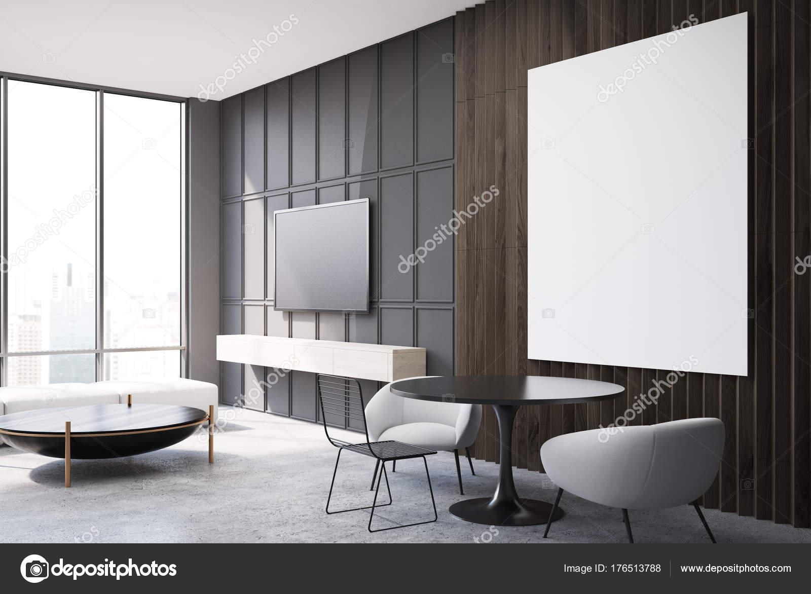 Salon gris et en bois, côté affiche blanc — Photographie ...