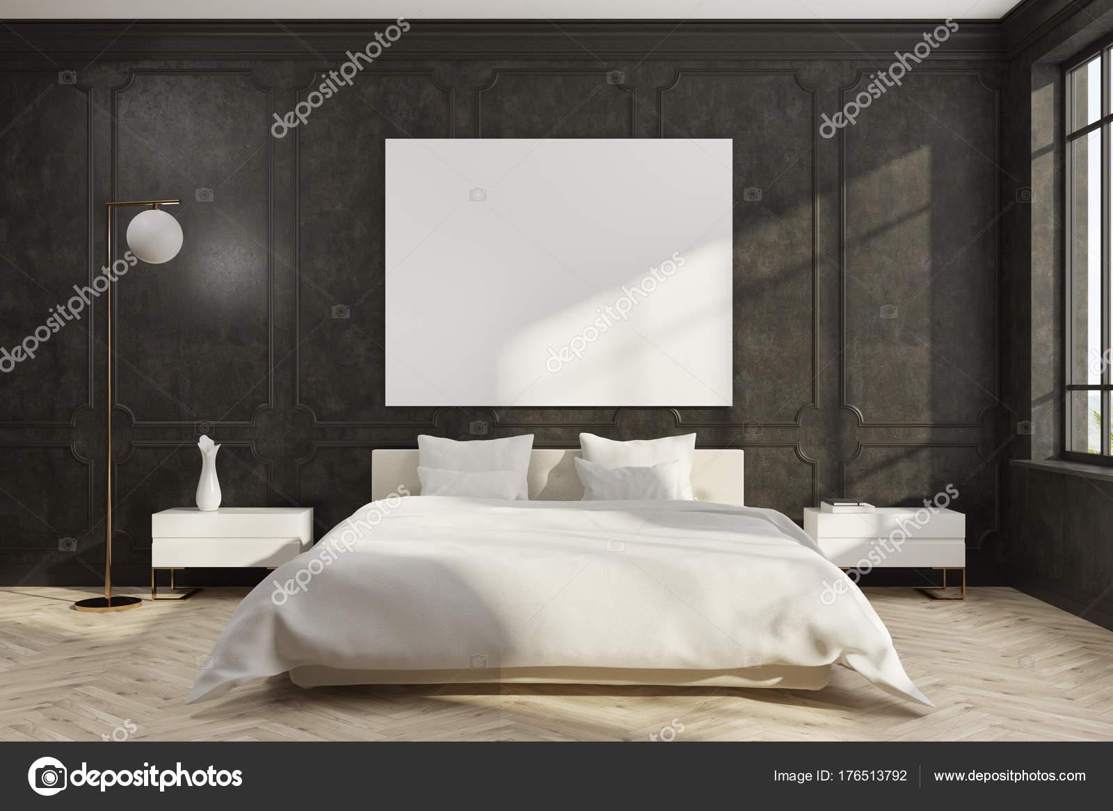 Camera da letto nera, base bianca, poster — Foto Stock ...
