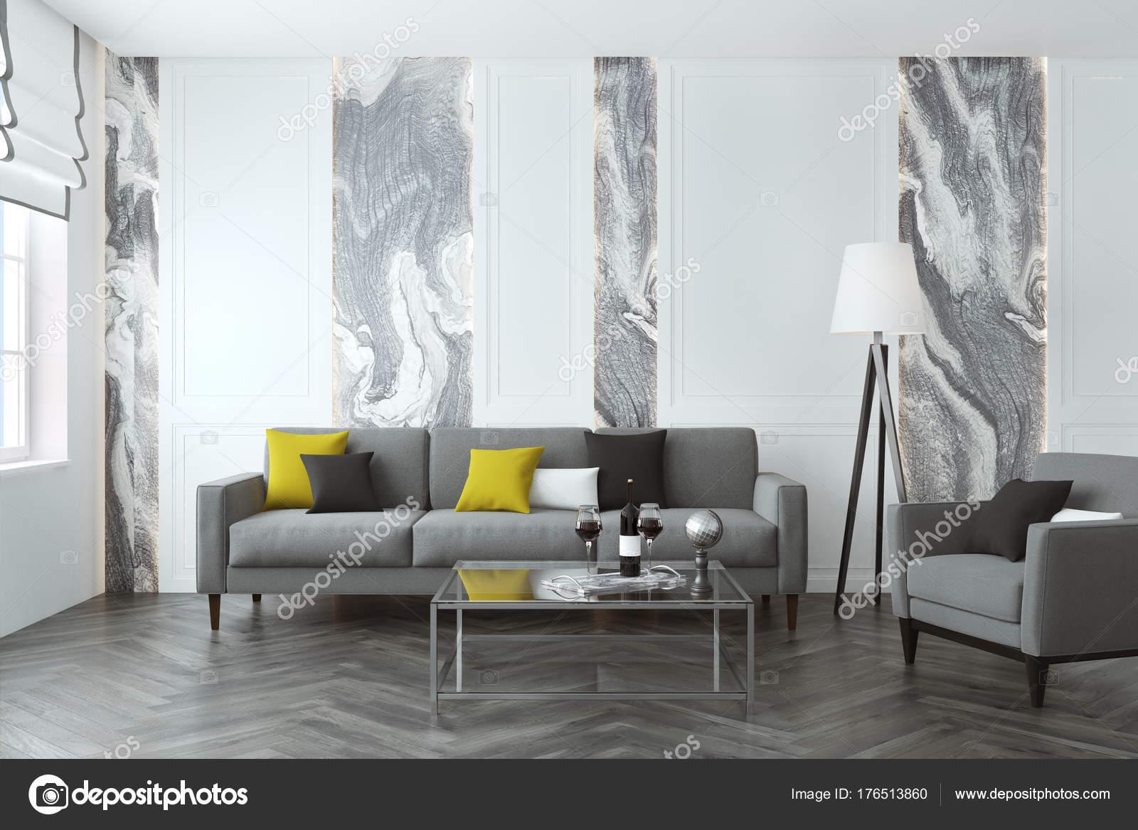 Weiße und graue Wohnzimmer, sofa — Stockfoto © denisismagilov #176513860