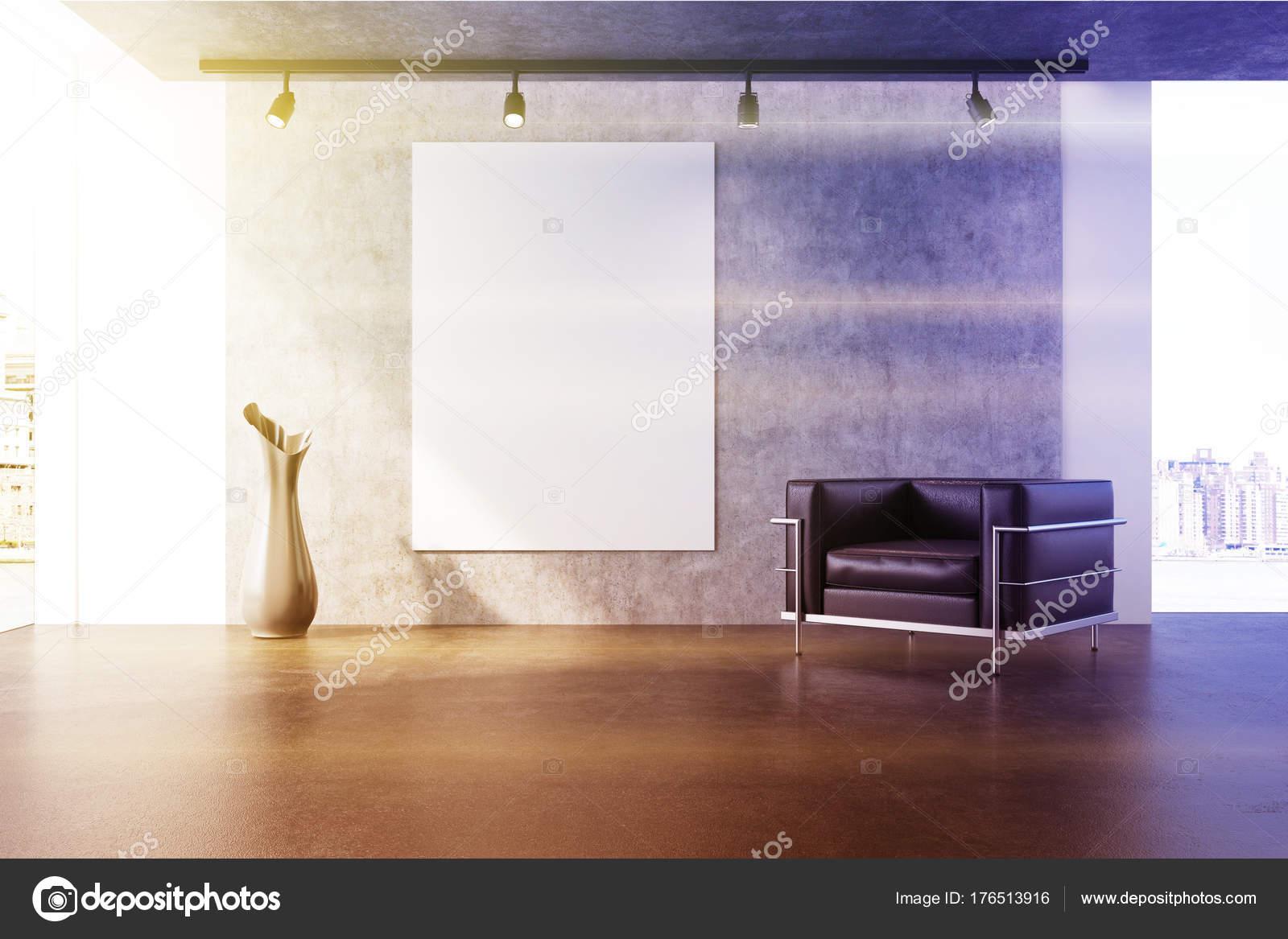Getönten grauen wohnzimmer sessel plakat u2014 stockfoto