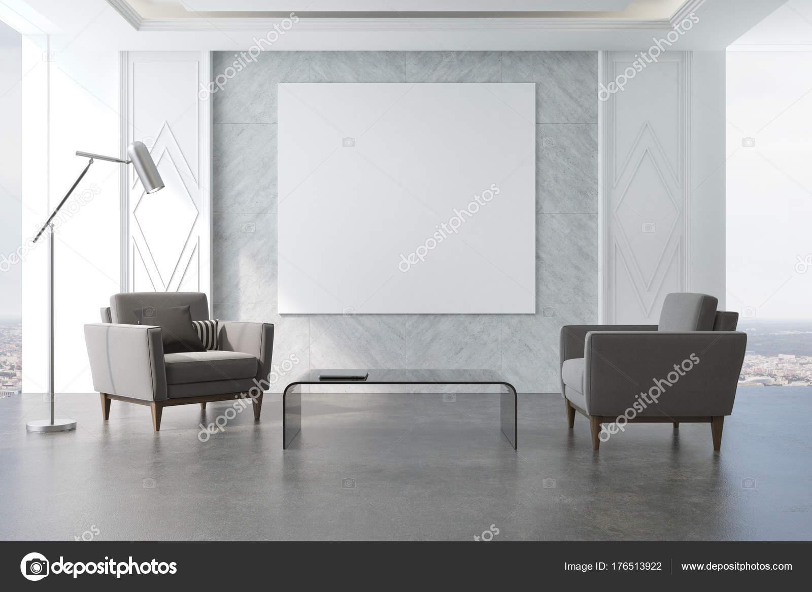 Grijze woonkamer, poster en fauteuils — Stockfoto © denisismagilov ...