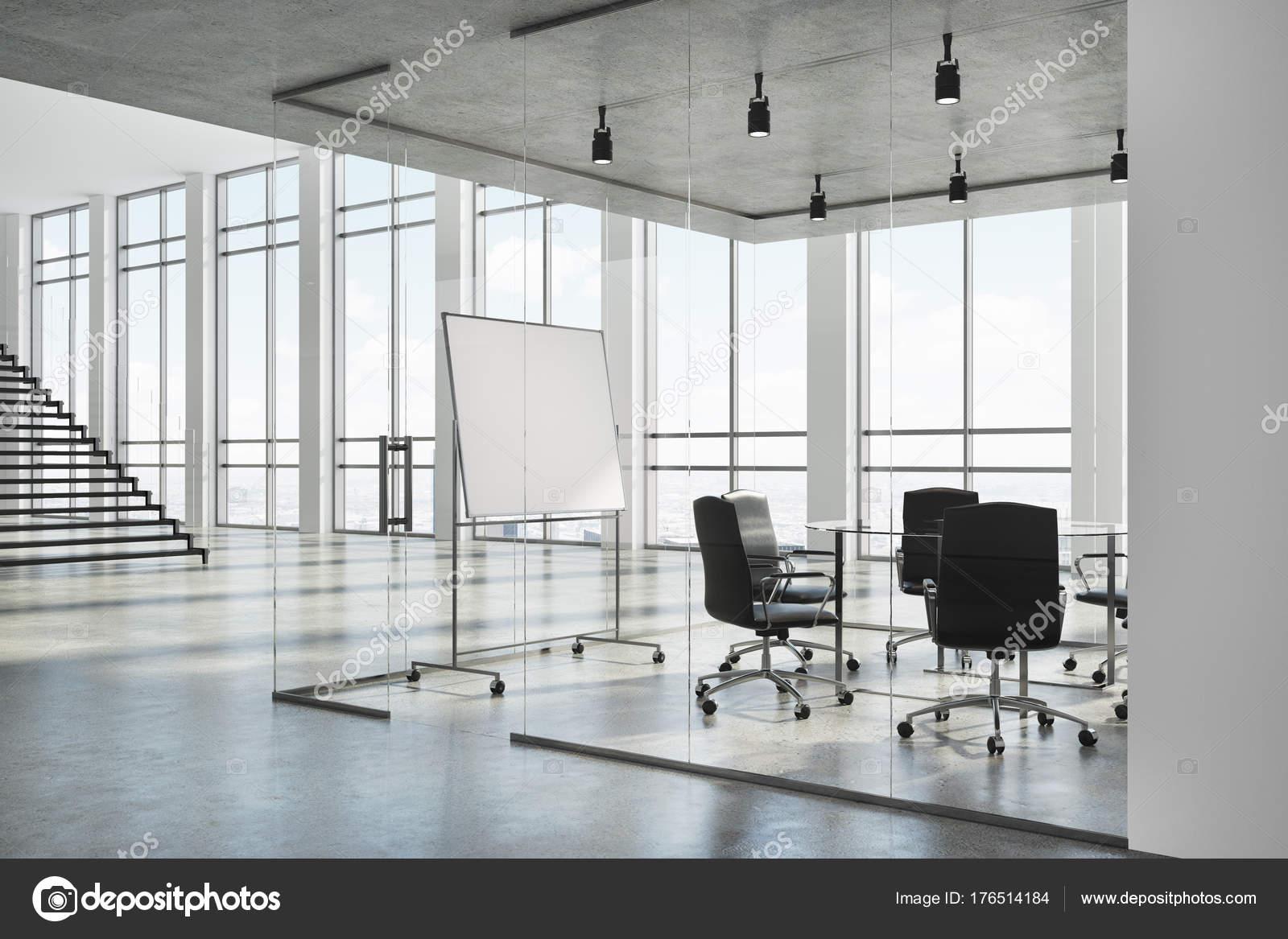 Weißes Zimmer Eckball Mit Einem Betonboden, Panoramafenster Und Ein Langer  Tisch Mit Stühlen. Ein Whiteboard. 3D Rendering Mock Up U2014 Foto Von  Denisismagilov