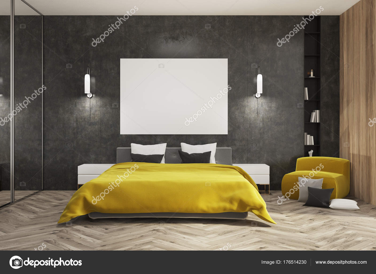 Dormitorio negro y madera, cama amarillo, cartel — Foto de stock ...