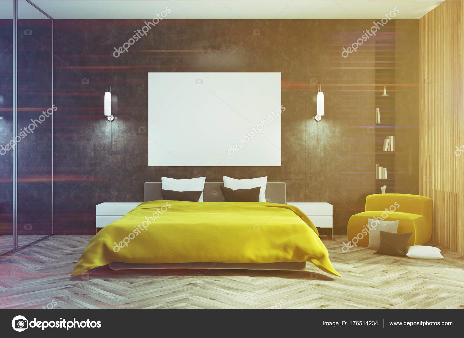 Letto camera da letto nera, gialla, poster tonica — Foto Stock ...
