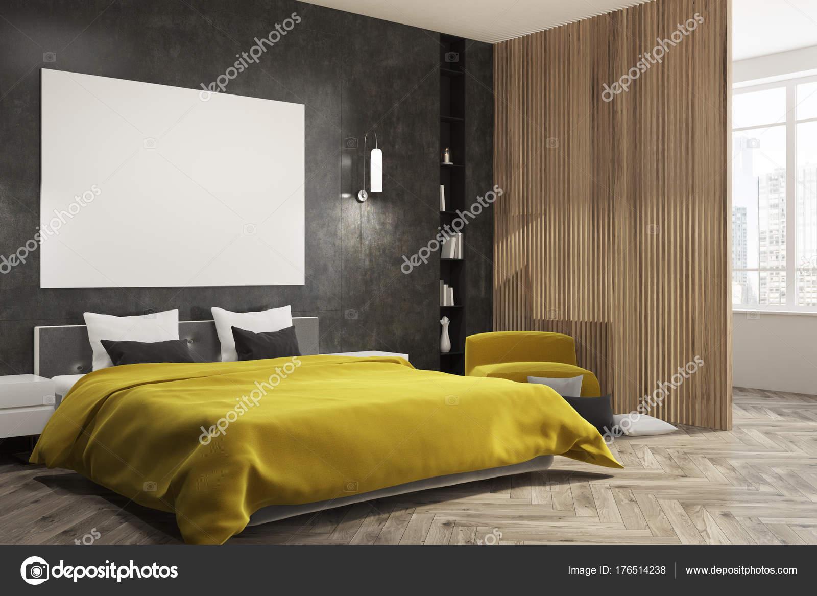 Letto camera da letto nera, gialla, manifesto lato — Foto Stock ...