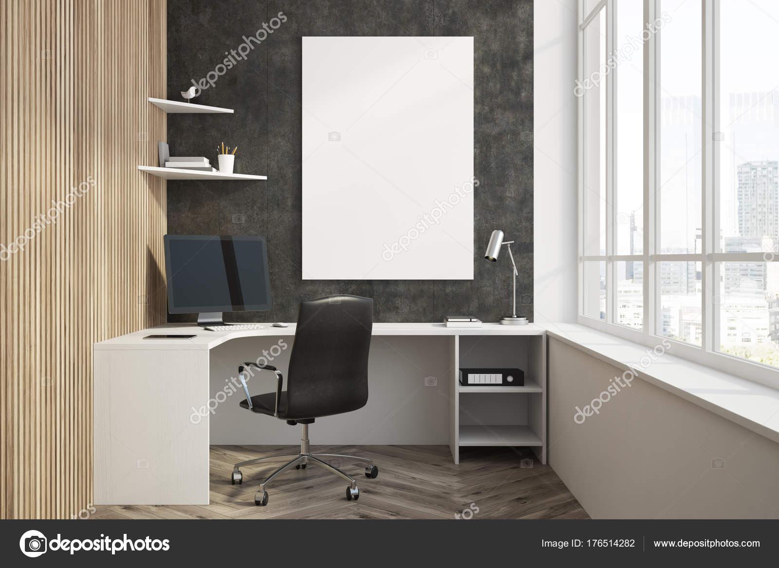 Bouchent avec intérieur noir et bois bureau à domicile