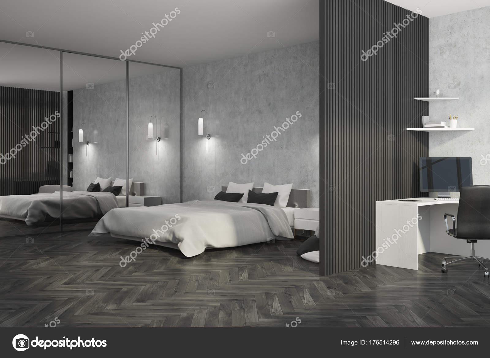Chambre grise et bureau à domicile côté u photographie