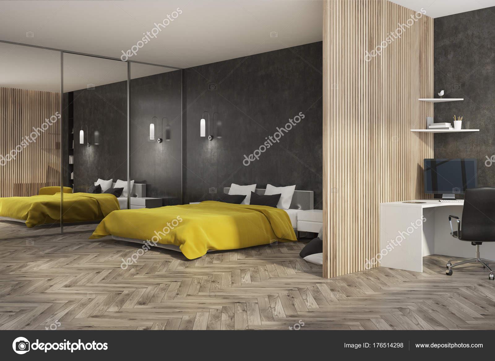 Noir et chambre à coucher en bois et bureau à domicile côté