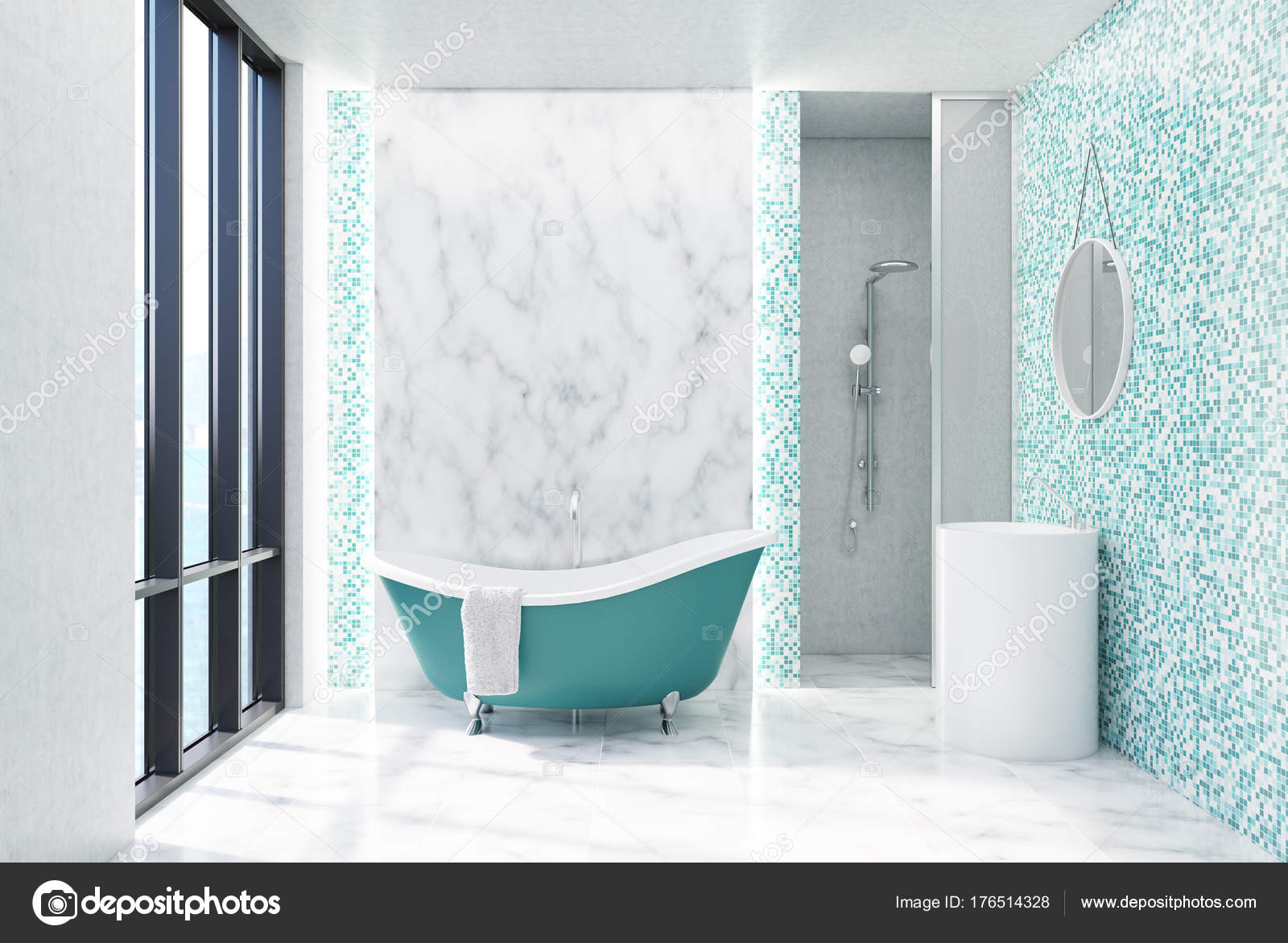 Green tiled bathroom — Stock Photo © denisismagilov #176514328