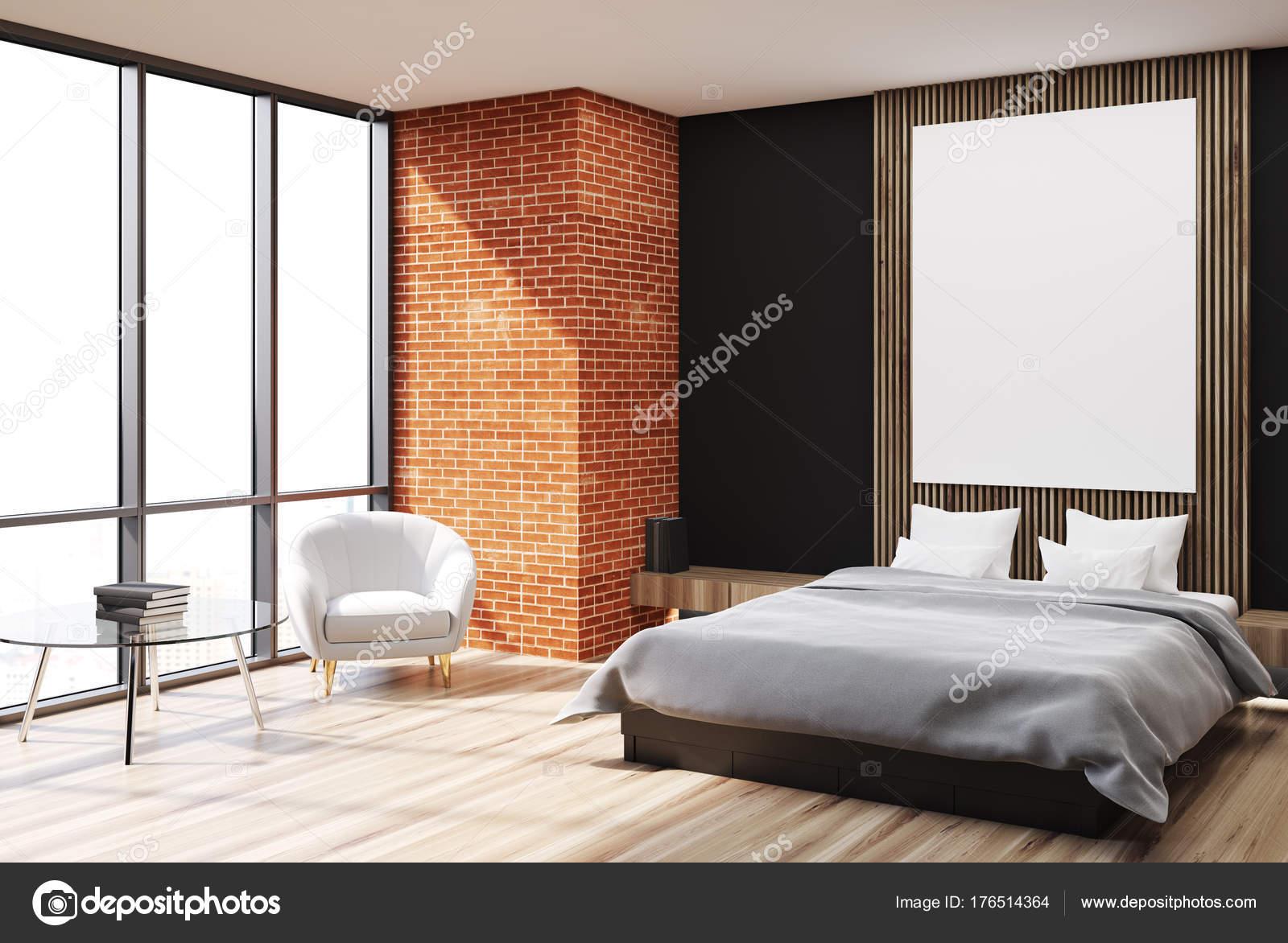 Zwart, baksteen en houten slaapkamer hoek, poster — Stockfoto ...