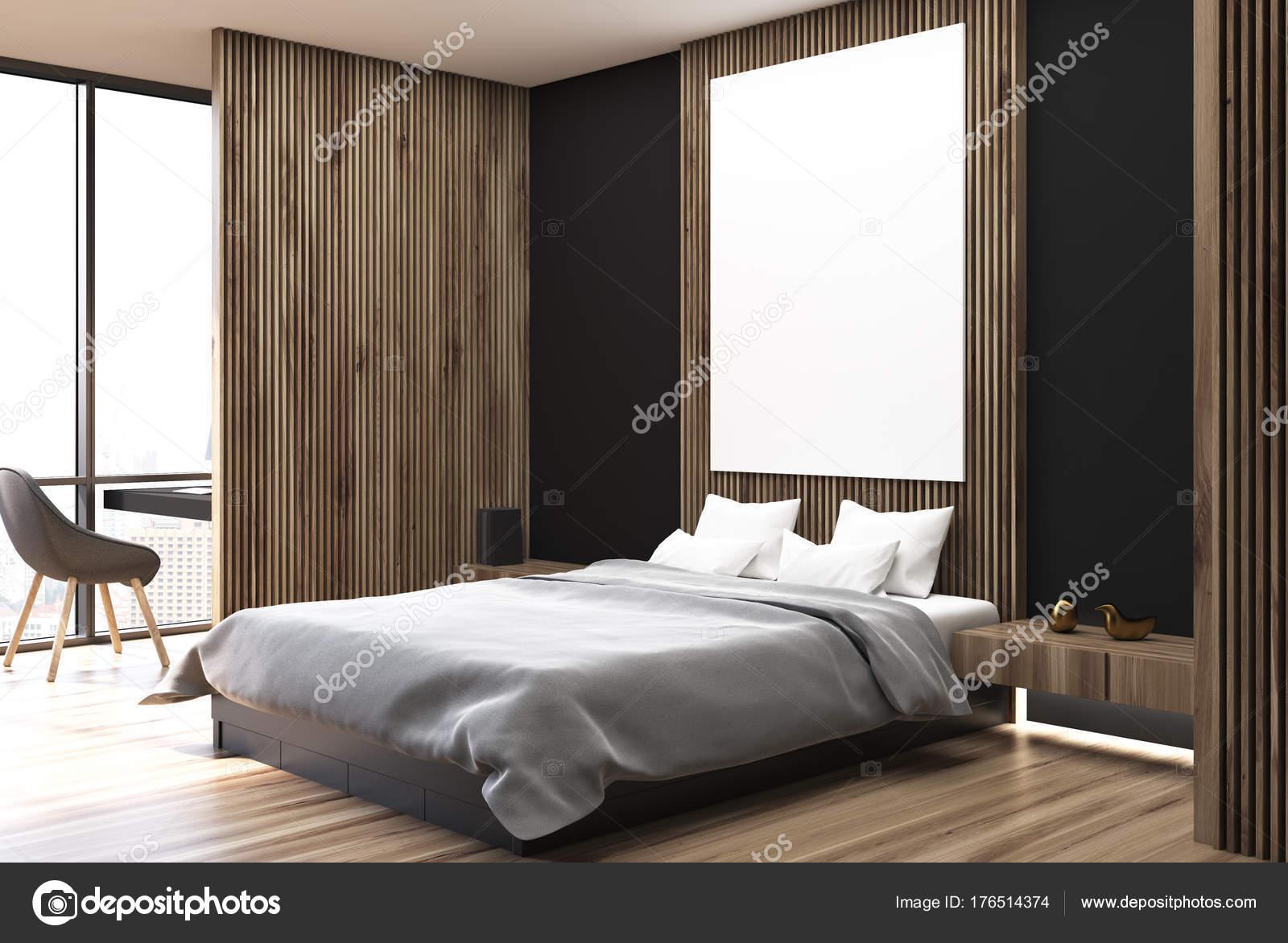 chambre coucher blanche noire et en bois ct photo