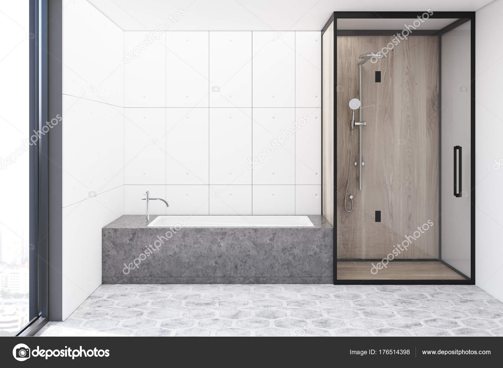 Witte tegels badkamer interieur u stockfoto denisismagilov