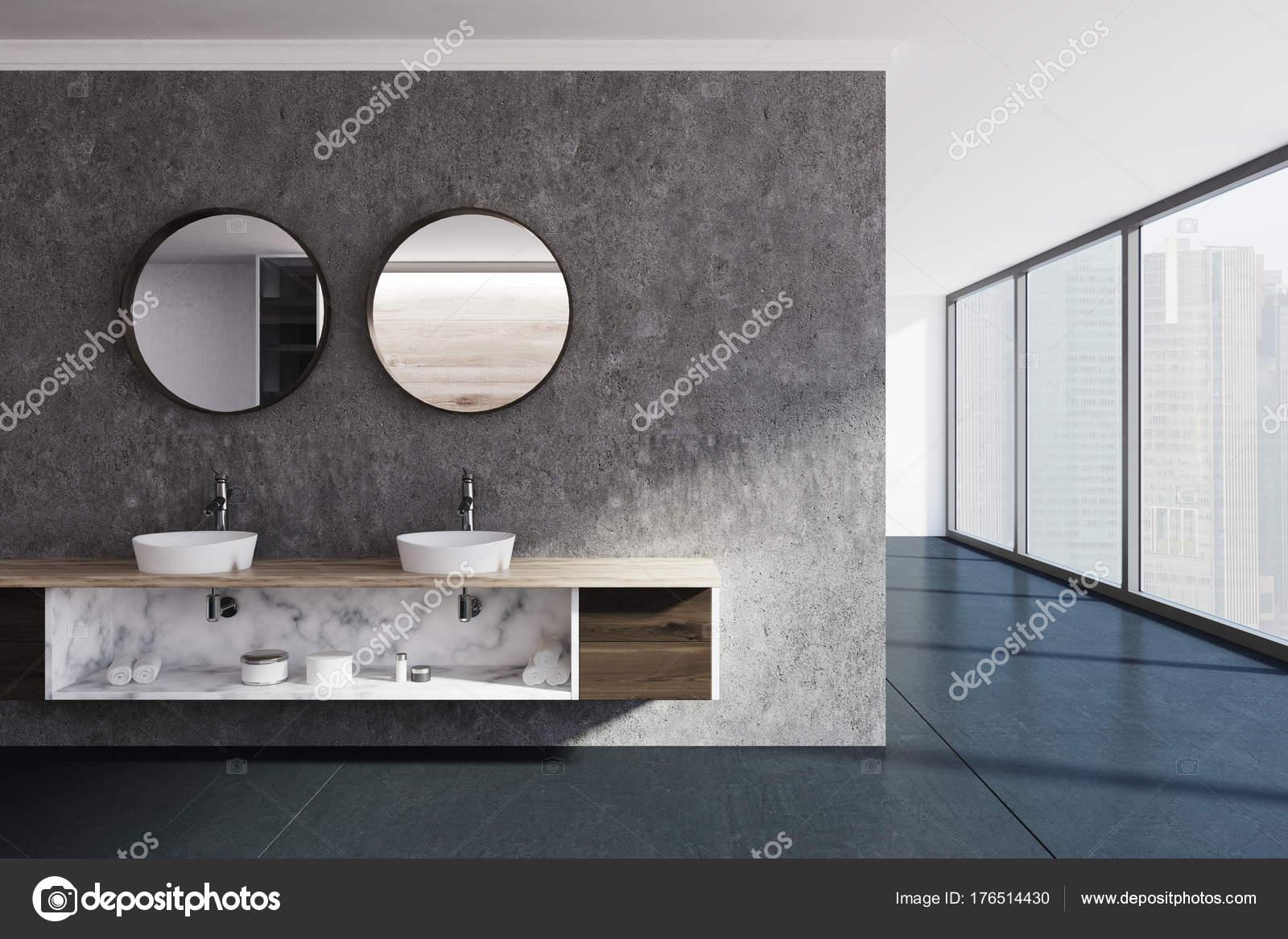 Beton Muur Badkamer : Betonnen muur badkamer wastafel en spiegels u2014 stockfoto