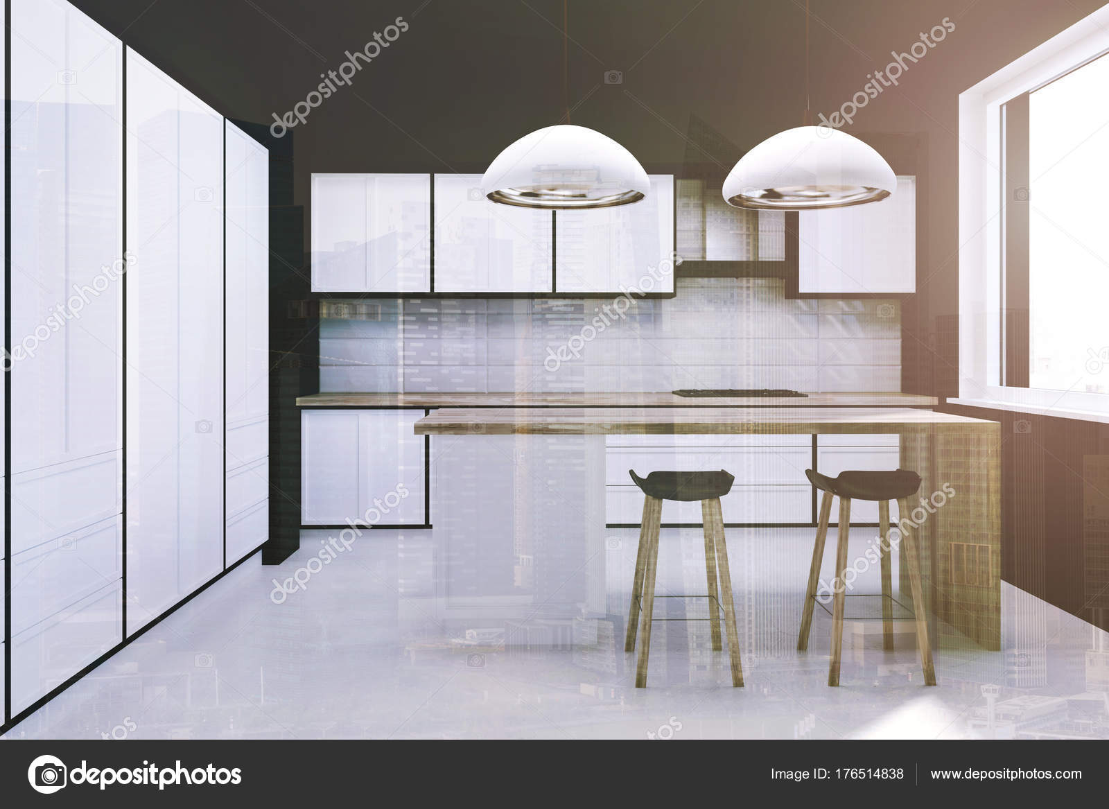 Panoramic kitchen with a bar and countertops toned — Stock Photo ...
