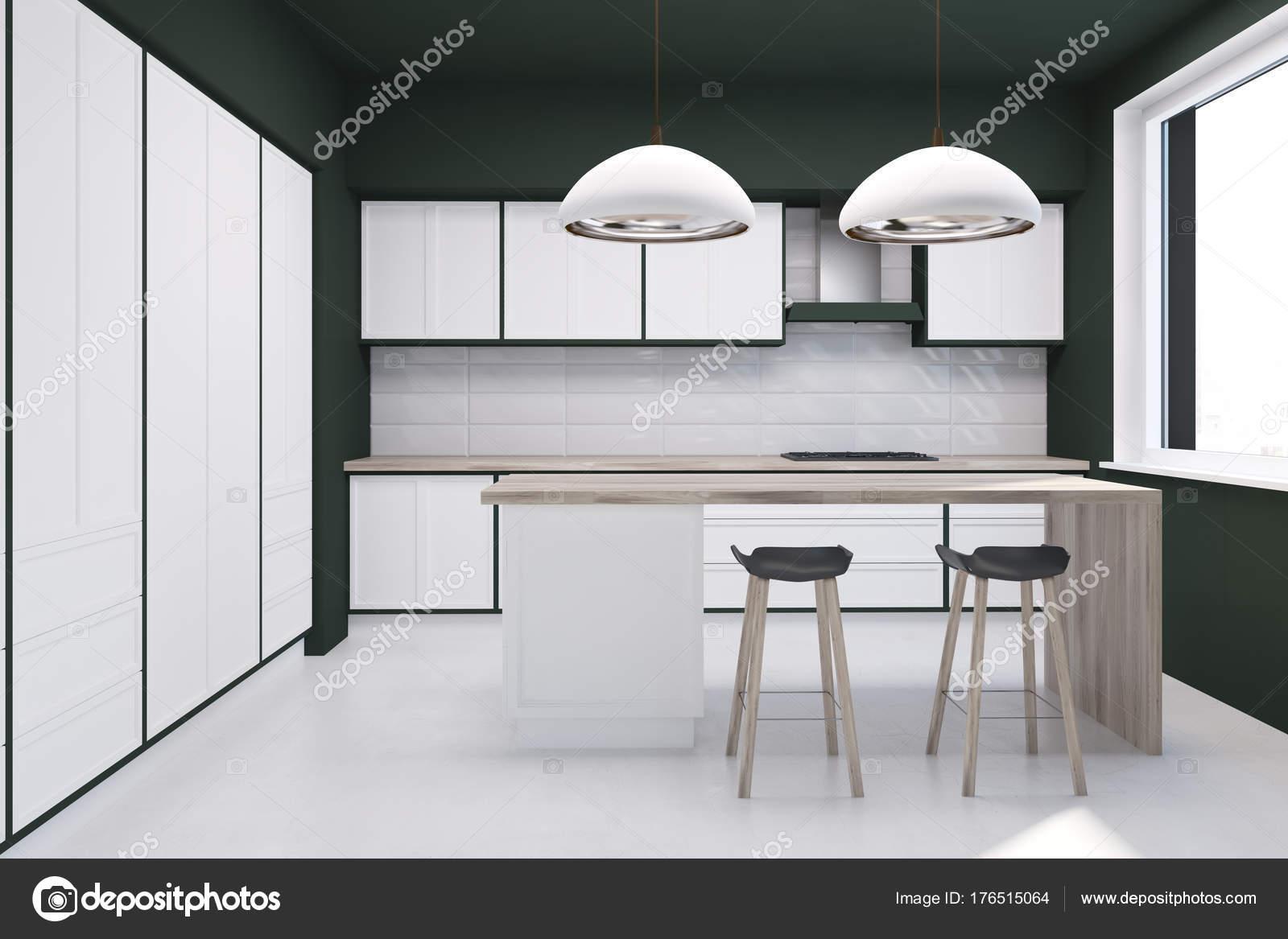 Cucina panoramica piastrelle bianche u foto stock denisismagilov