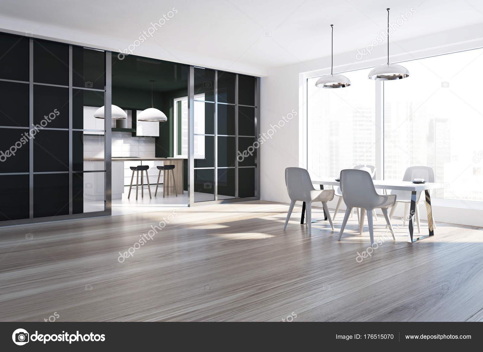 Côté salle à manger noir et blanc — Photographie ...