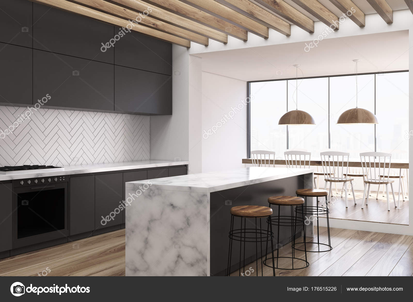 Side View Of A White Wooden Kitchen With A White Marble Bar, Black  Countertops And A Dining Room Table With Chairs. 3d Rendering Mock Up U2014  Photo By ...