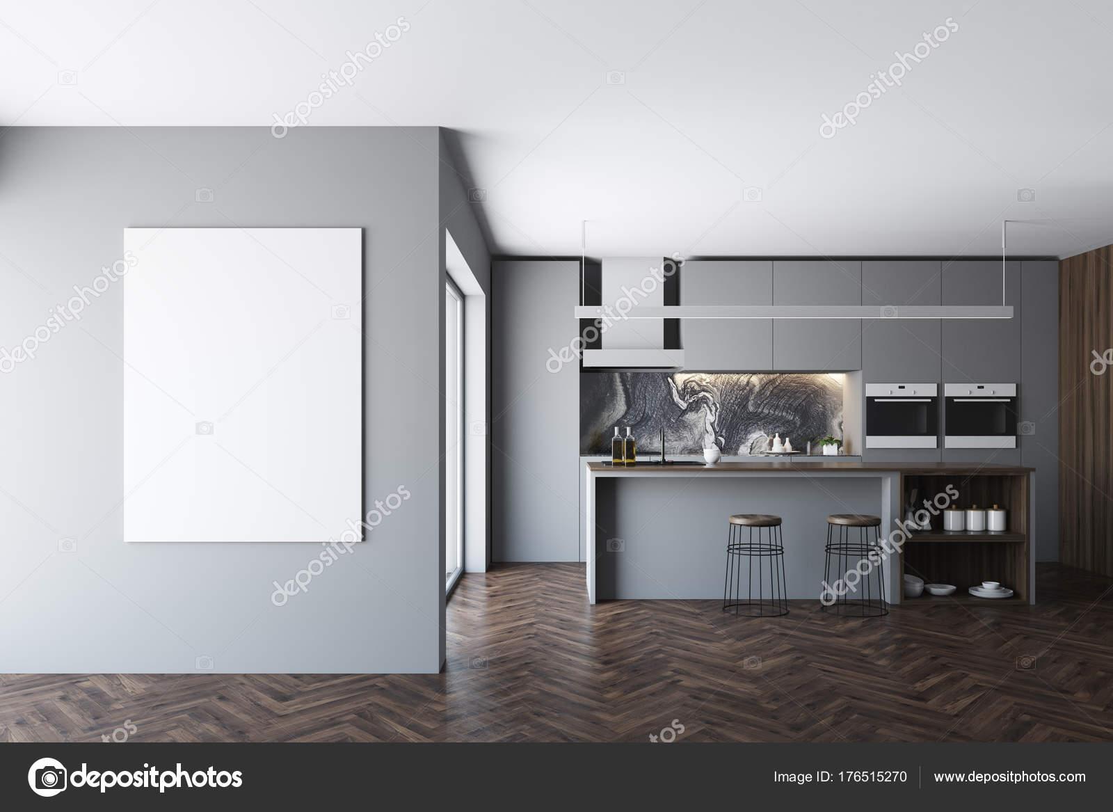 Cucina grigio scuro, bar e finestra, poster — Foto Stock ...