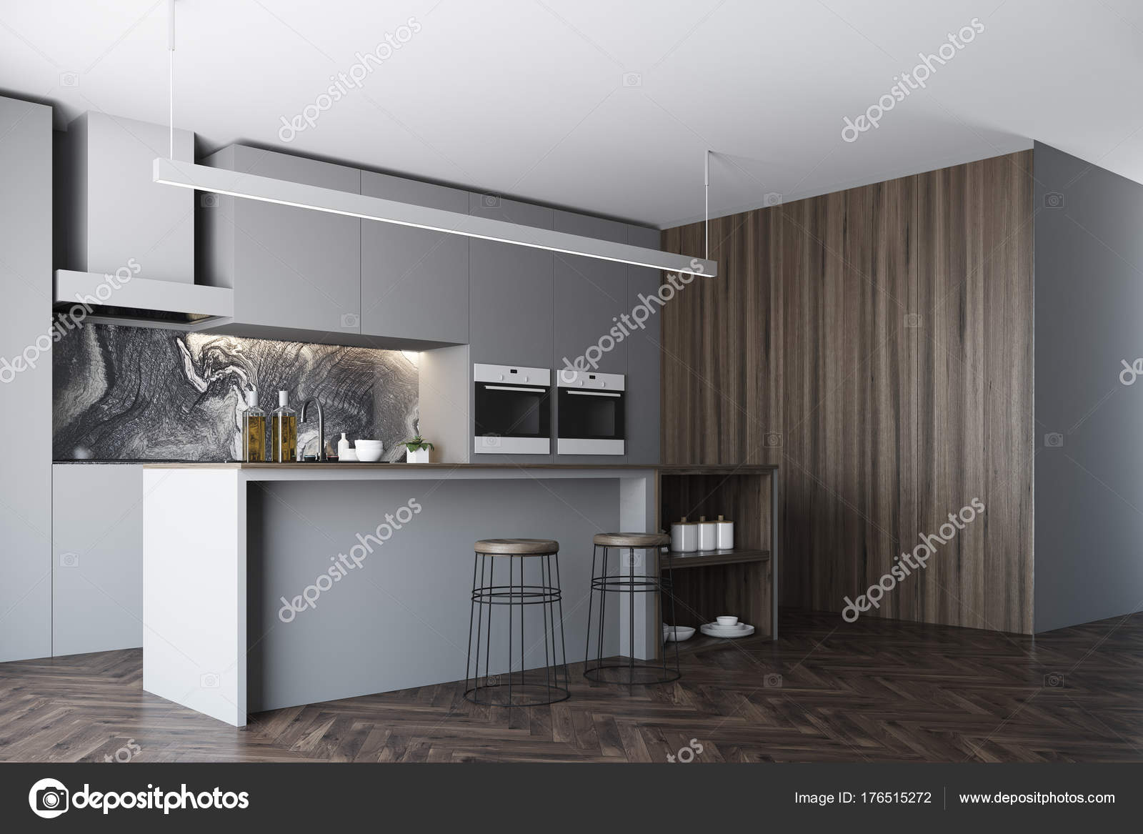 Lato cucina, bar e finestra grigio scuro — Foto Stock ...