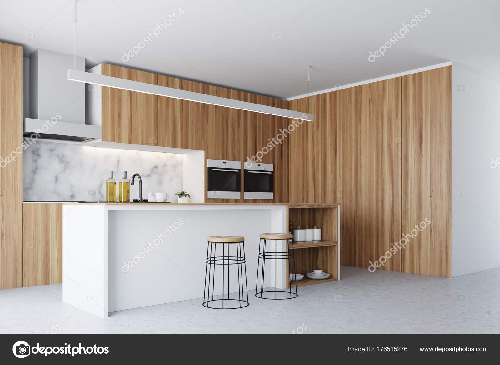 Dunklen Holz Fenster, Küche und Bar-Ecke — Stockfoto ...