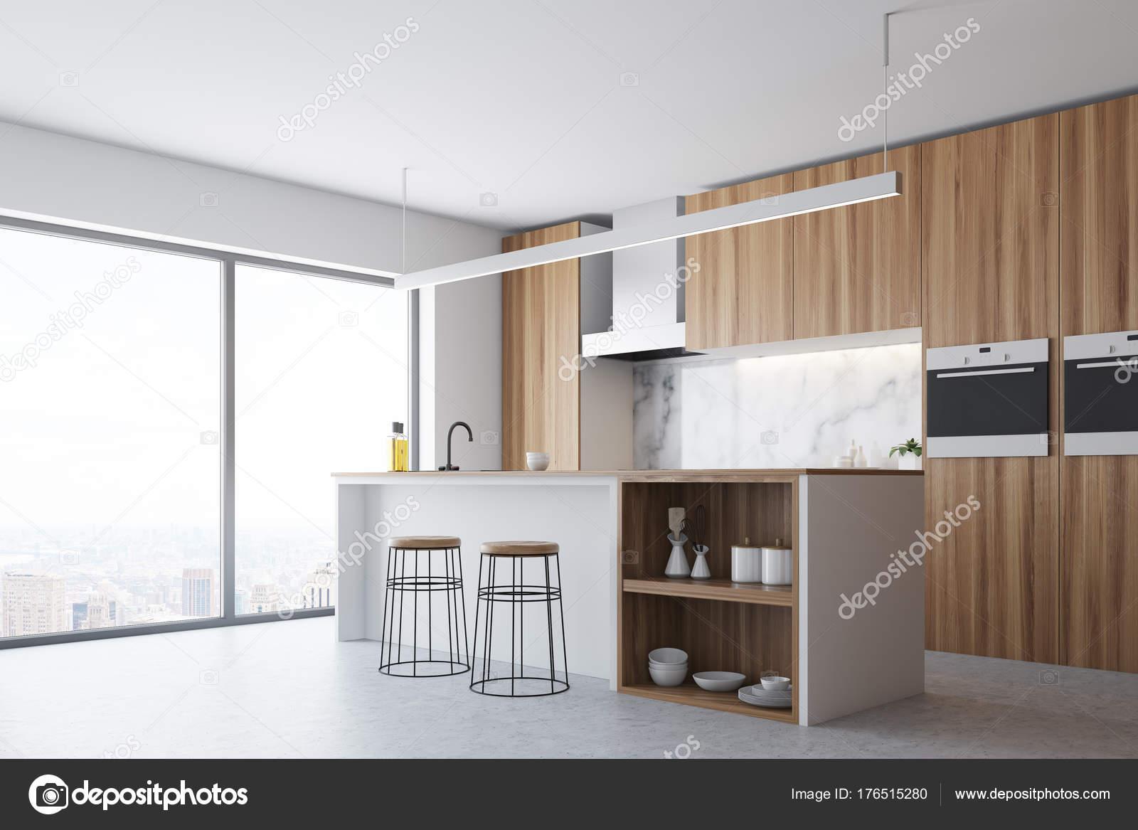 Holz Fenster, Küche und Bar Schattenseiten — Stockfoto ...