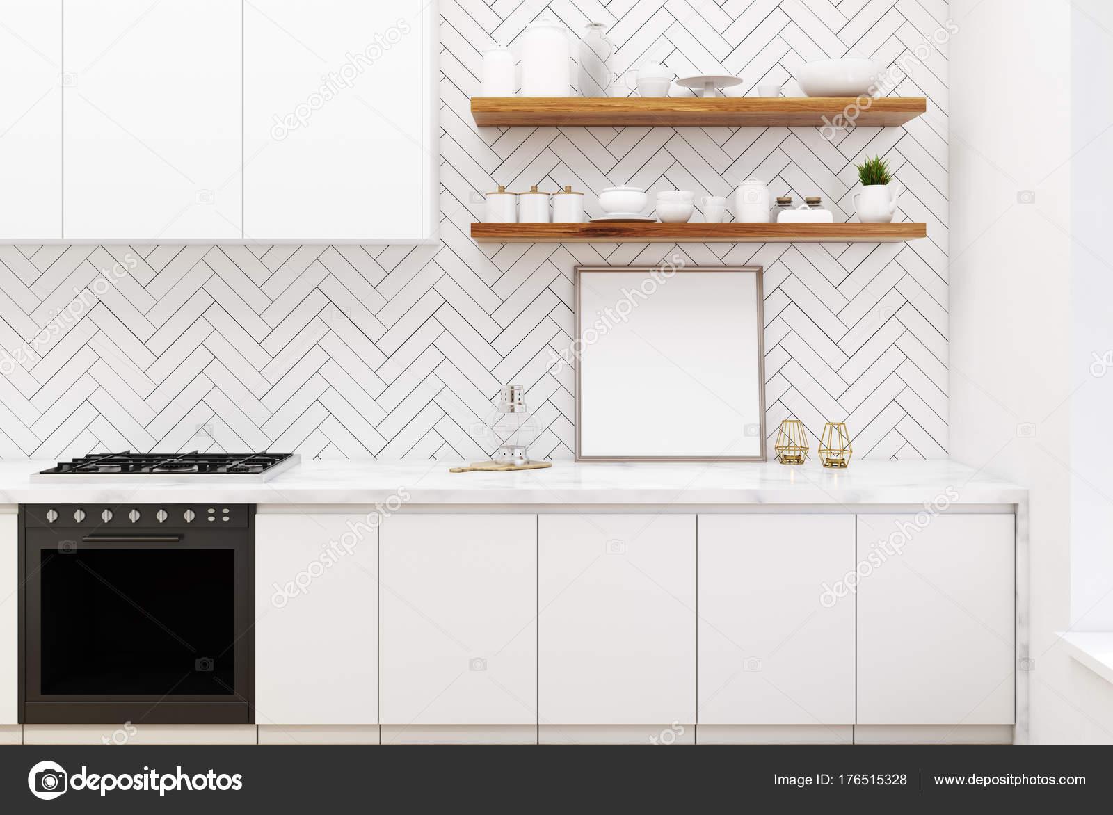 Cucina in legno bianca, sedie bianche, poster — Foto Stock ...