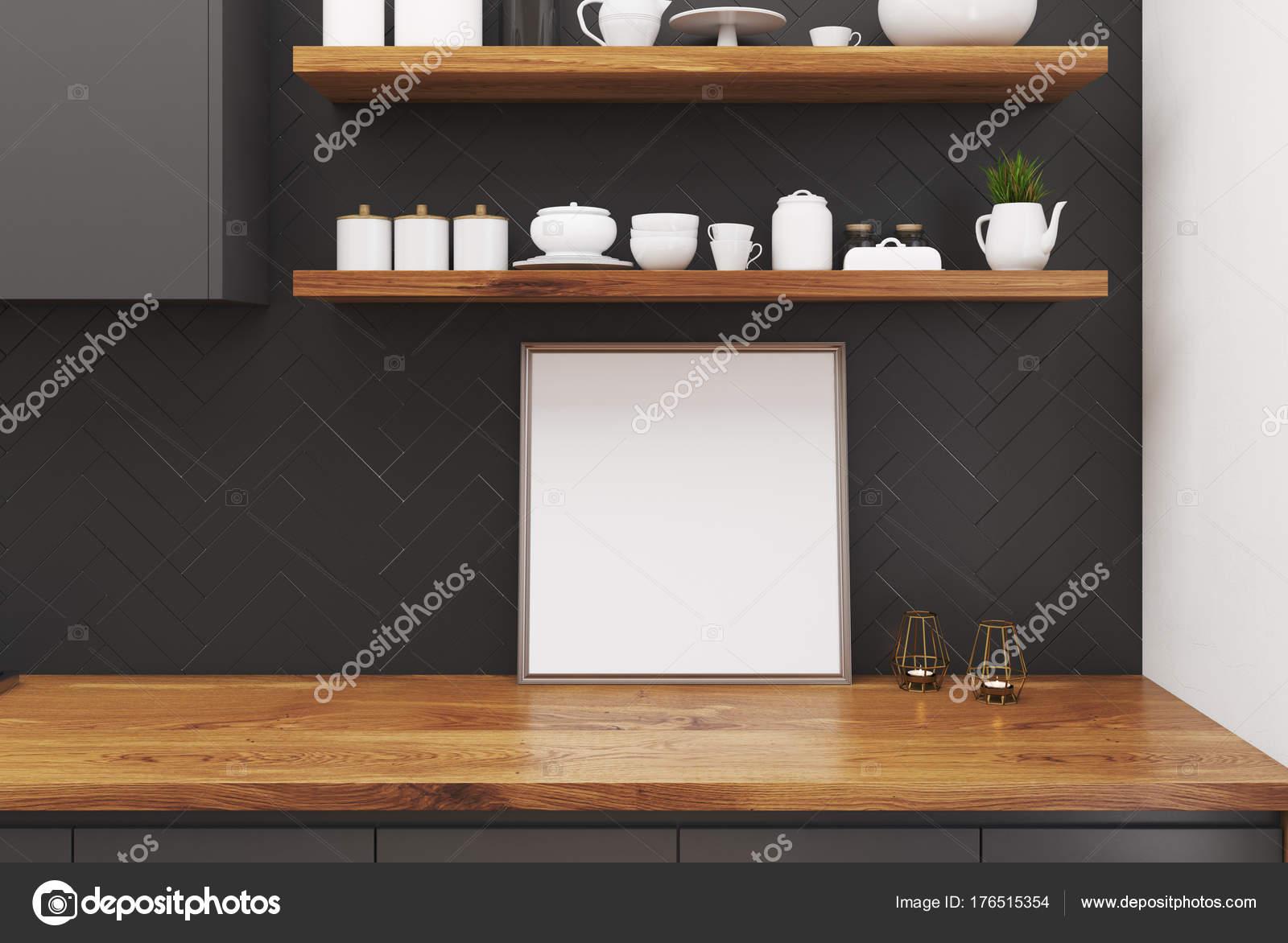 Tavolo da cucina in legno, poster quadrati — Foto Stock ...