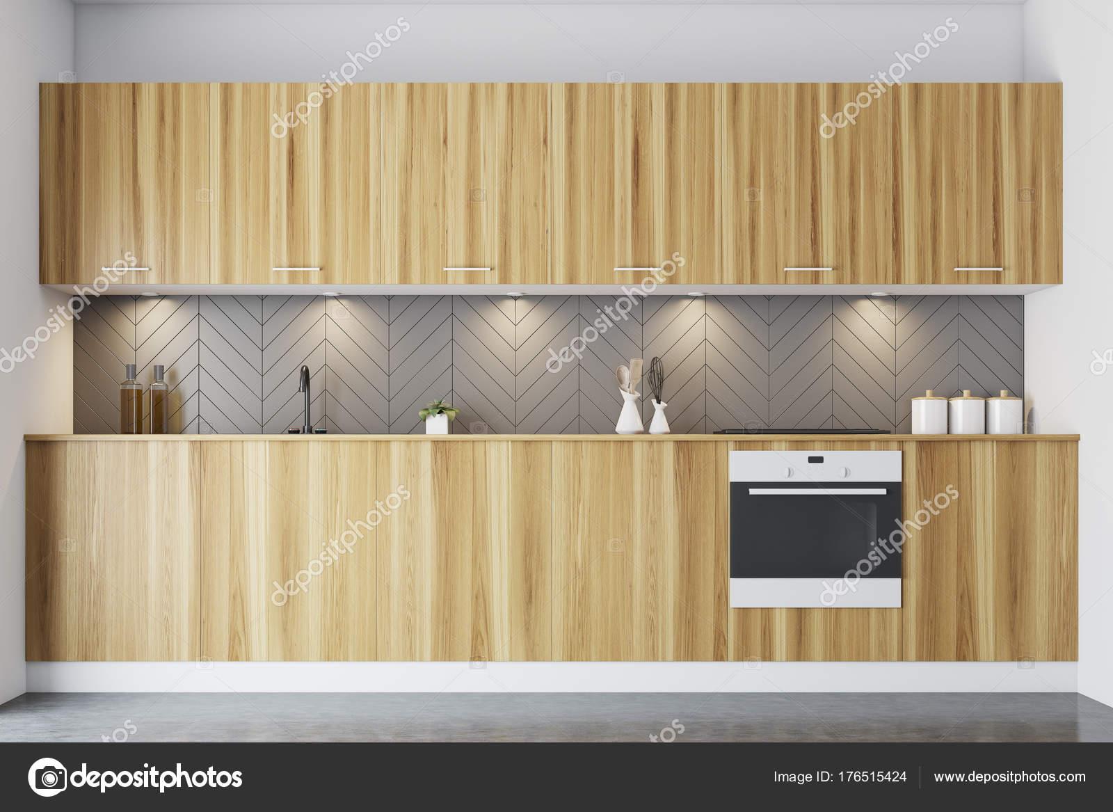Kuchnia Szary Ciemny Blat Drewniany Zdjęcie Stockowe