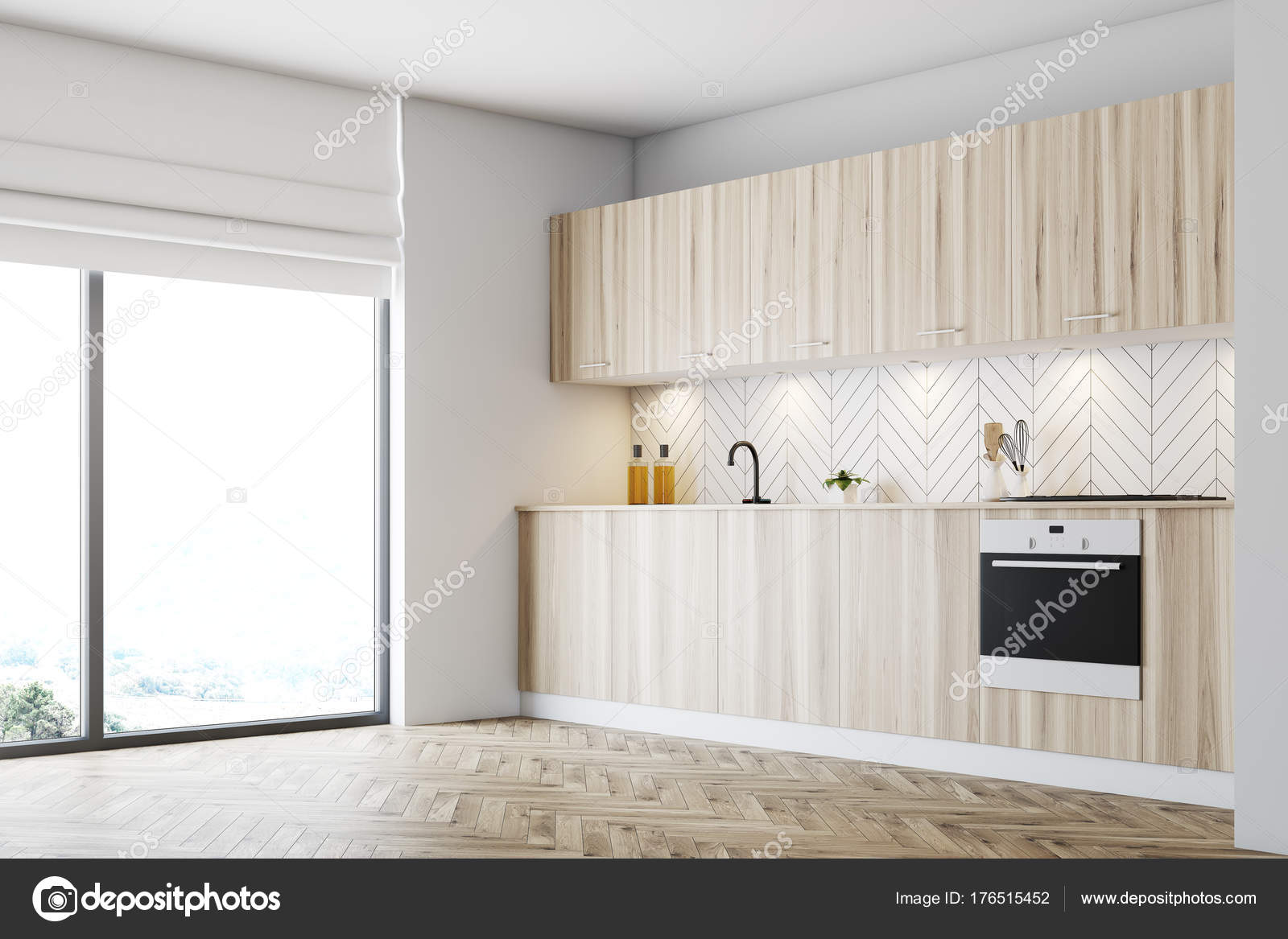 Graue Küche Arbeitsplatte Aus Holz Seite Stockfoto