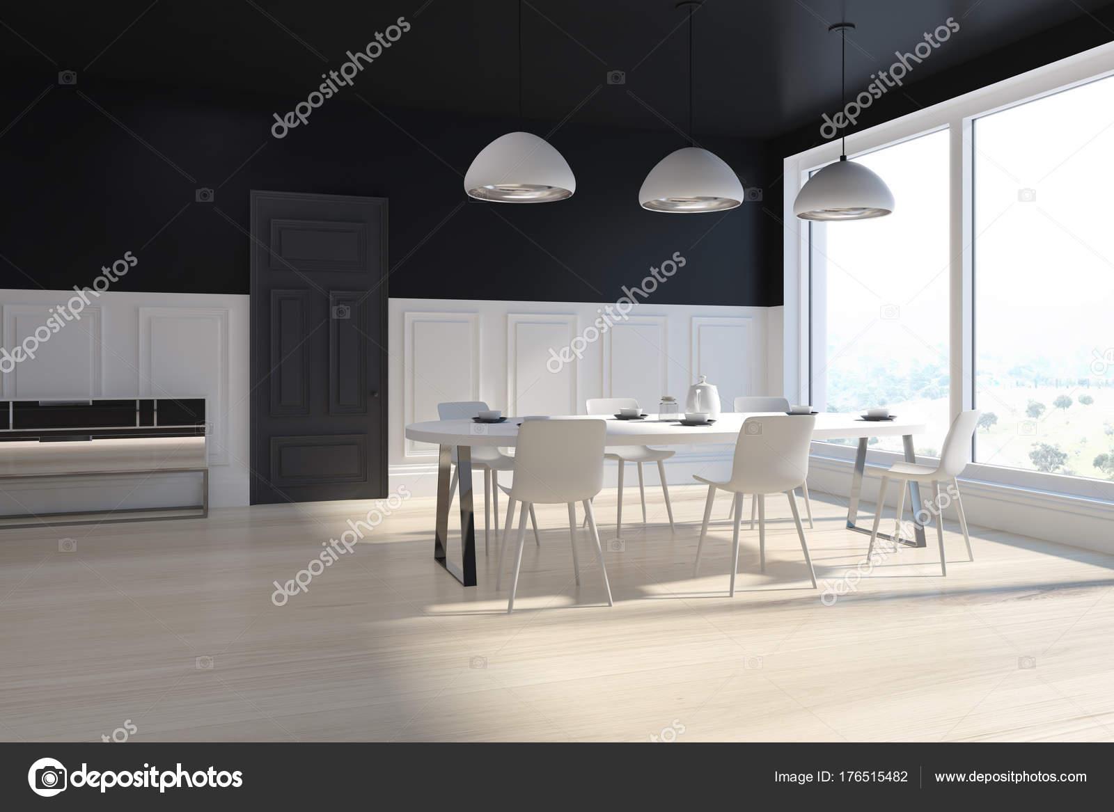 Zwart-wit eetkamer hoek — Stockfoto © denisismagilov #176515482