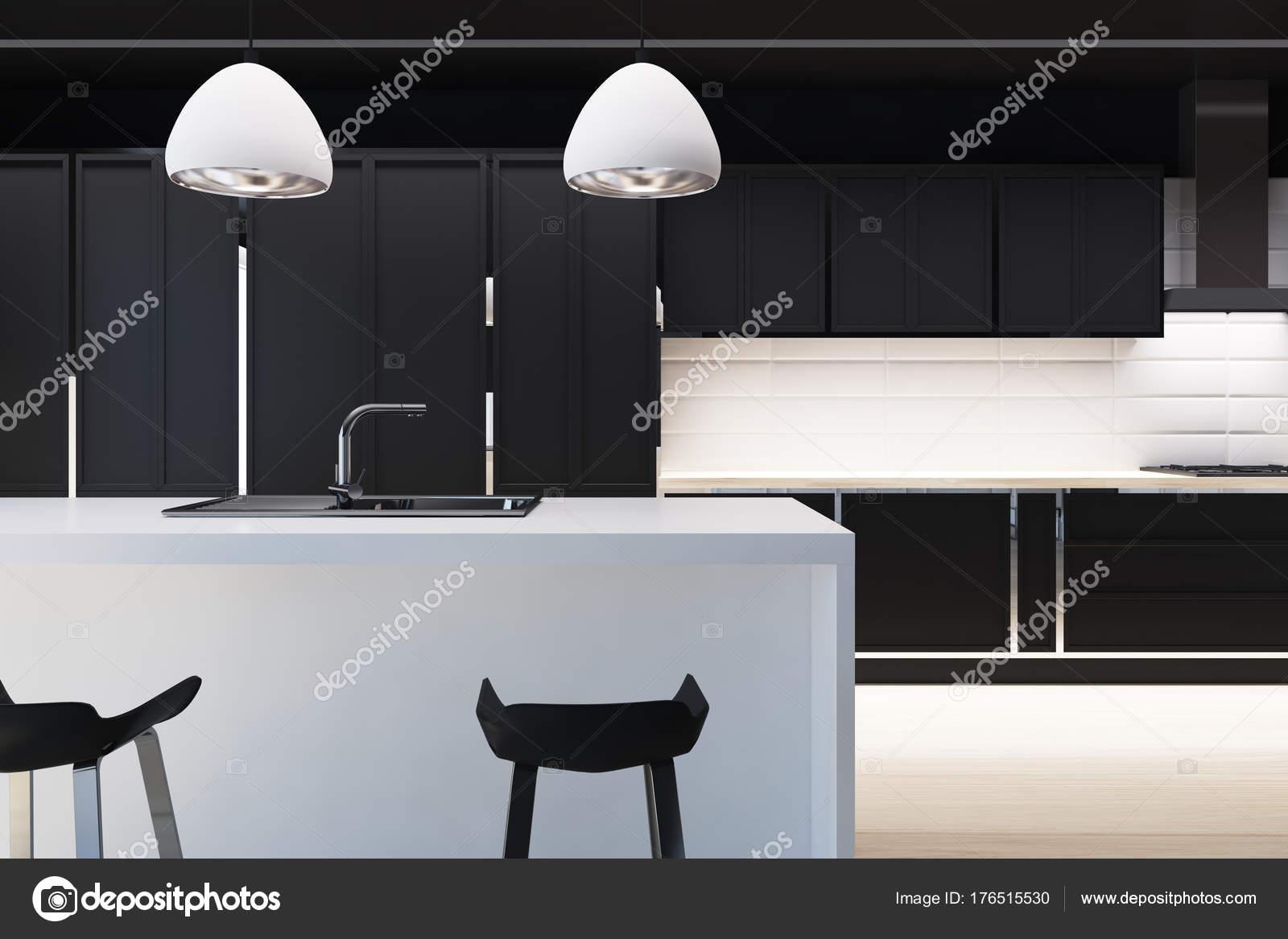 Mattonelle bianche e interno cucina nera bar del primo piano u2014 foto