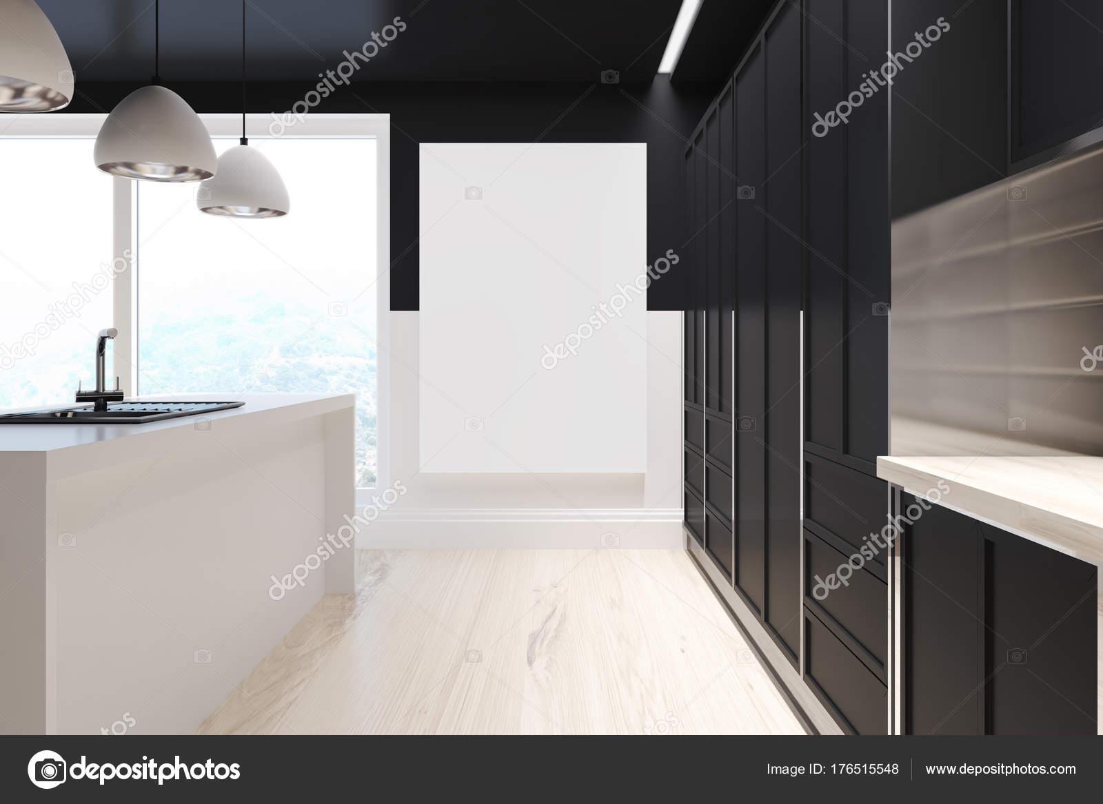 Czarna Kuchnia Drewniana Biały Pasek Zdjęcie Stockowe