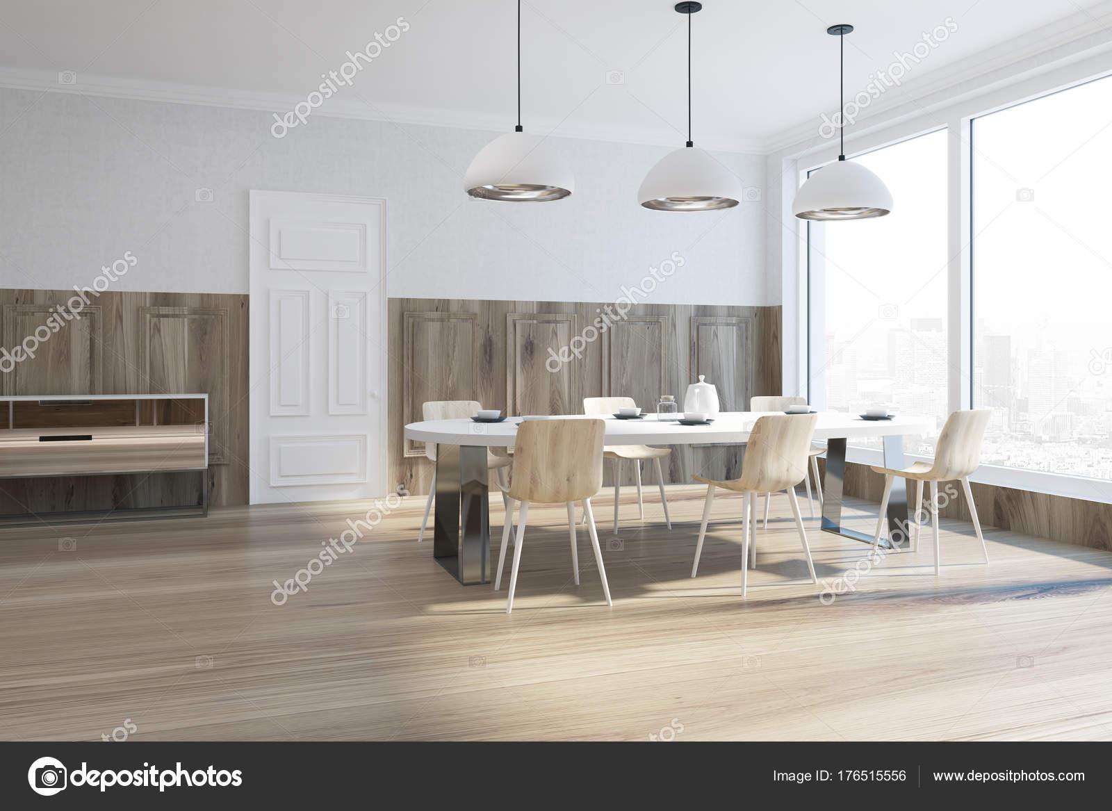 Houten en witte eetkamer hoek — Stockfoto © denisismagilov #176515556