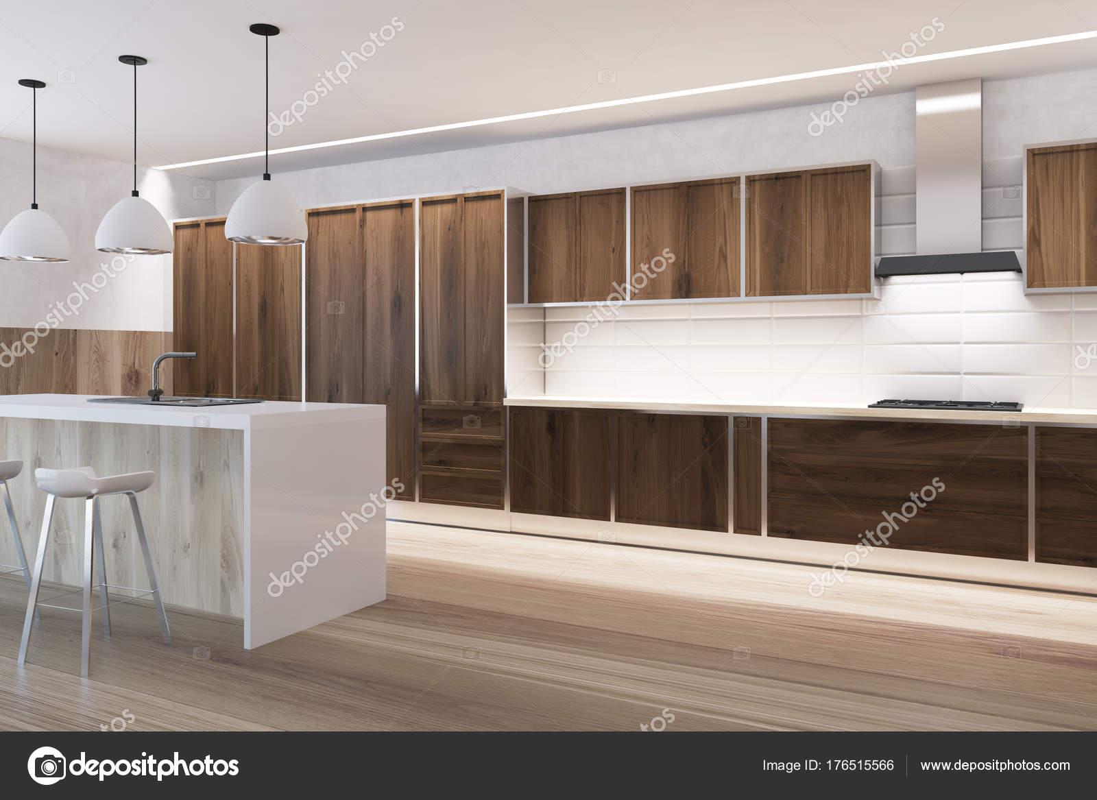 Tegels Keuken Witte : Kant witte tegels en houten keuken interieur bar u2014 stockfoto