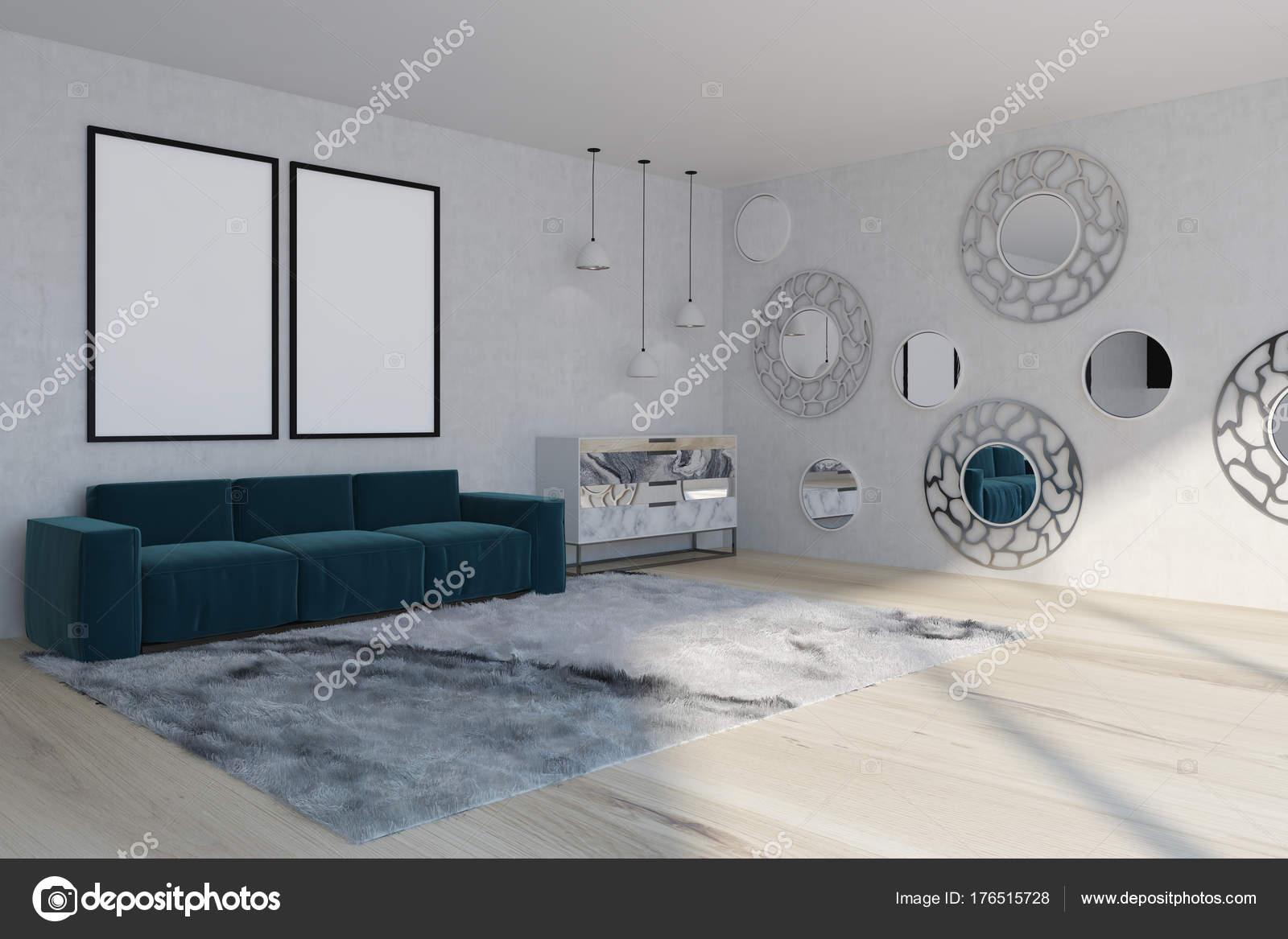 Divano del soggiorno, blu specchio, lato — Foto Stock ...