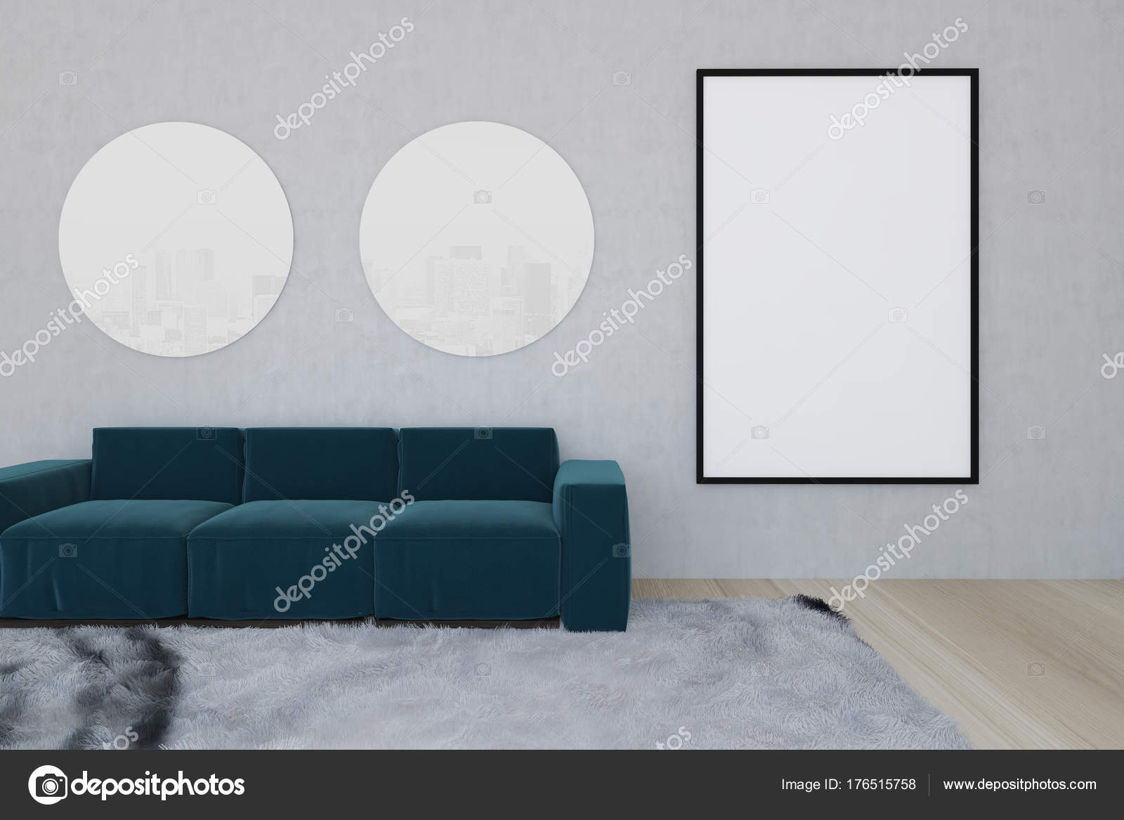Blue sofa in a living room with a carpet, poster — Stock Photo ...