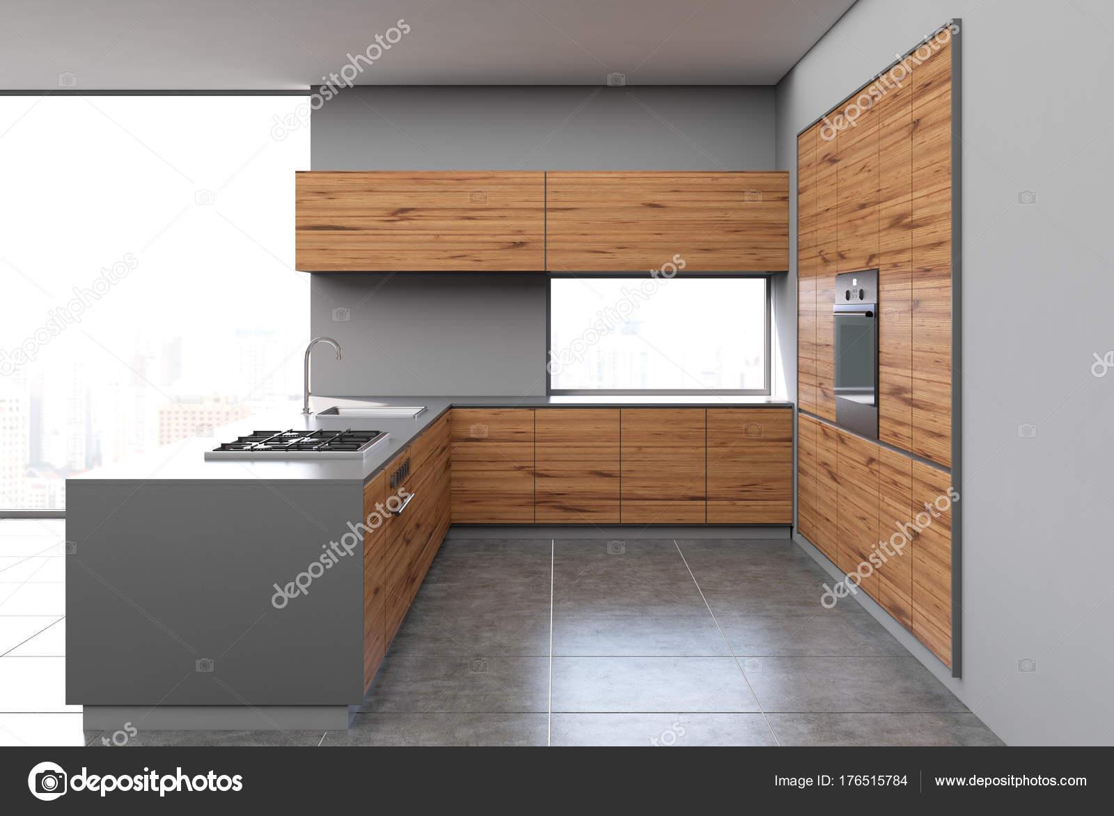 Grijze Houten Keuken : Grijs en donker houten keuken u stockfoto denisismagilov