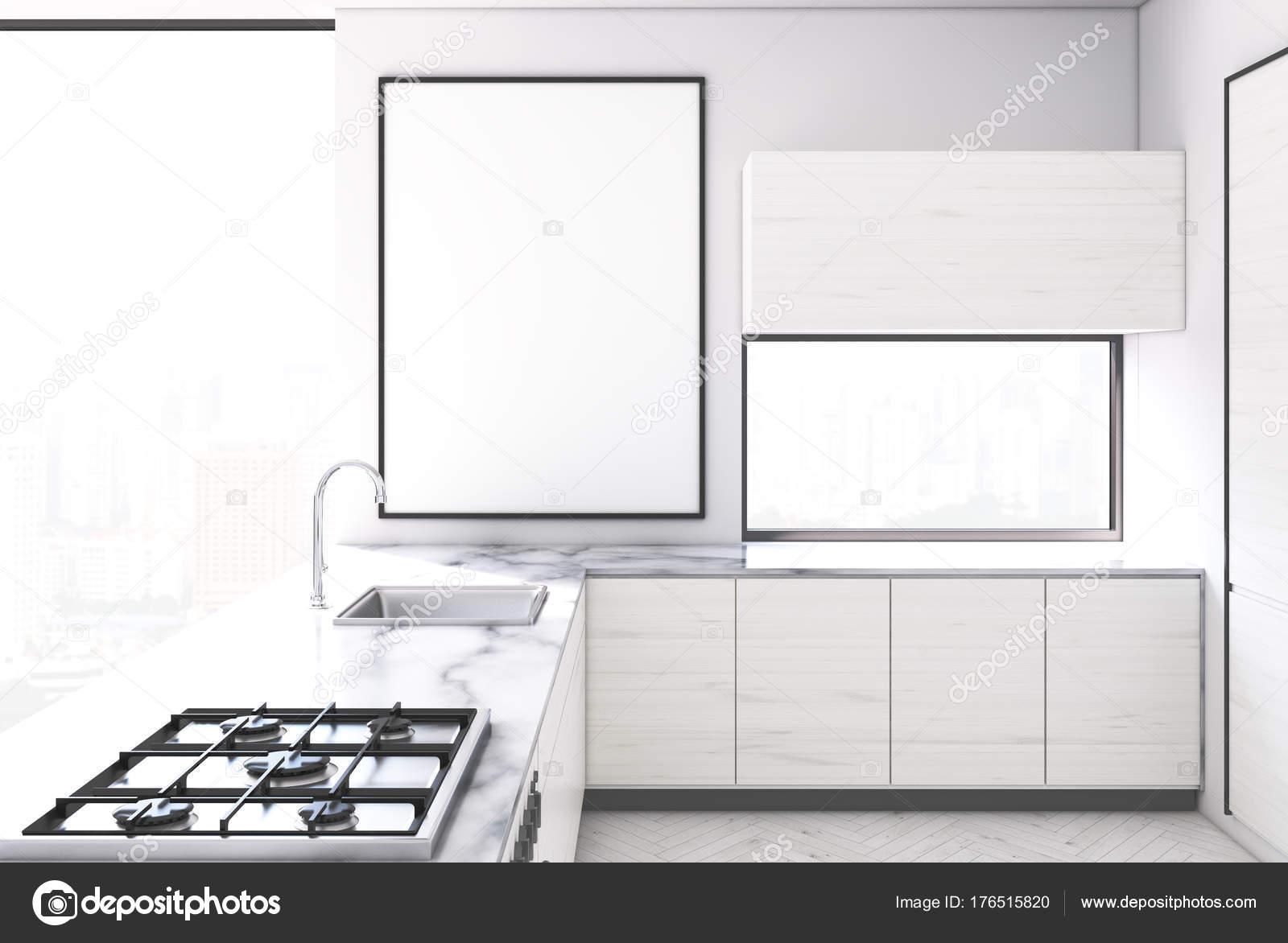 Cocina blanca, poster enmarcado — Fotos de Stock © denisismagilov ...