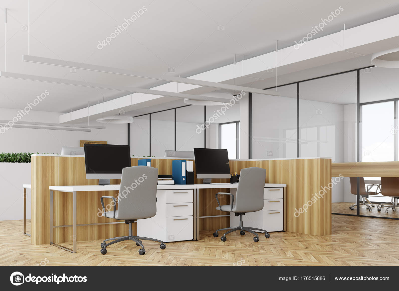 Bureau blanc côté bureaux en bois u photographie denisismagilov
