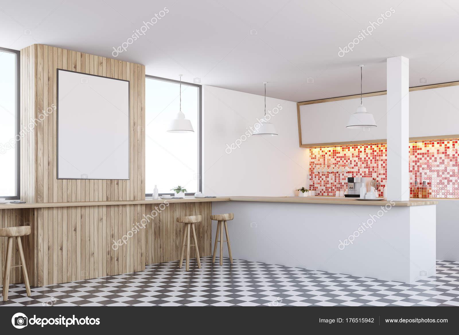 Mattonelle rosse bar interni poster lato u foto stock