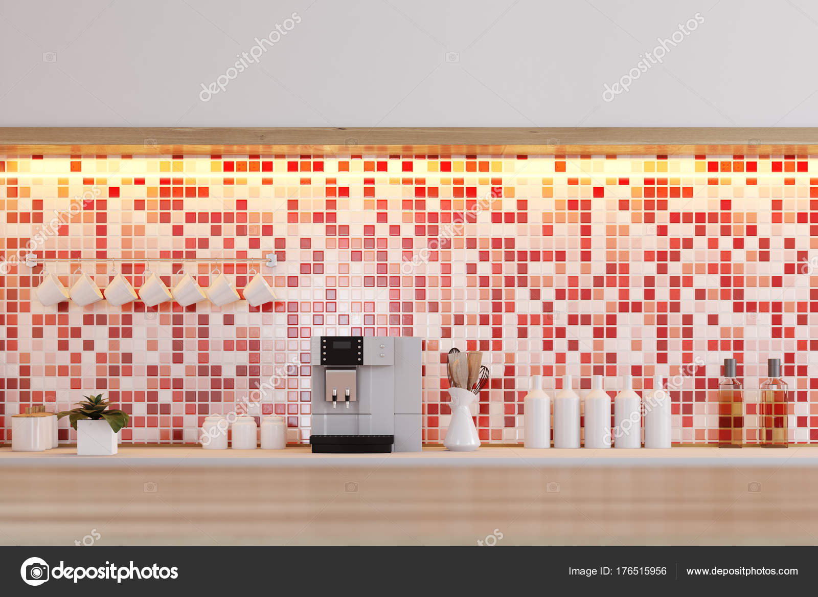 Rote Dachziegel Kuchenarbeitsplatte Stockfoto C Denisismagilov