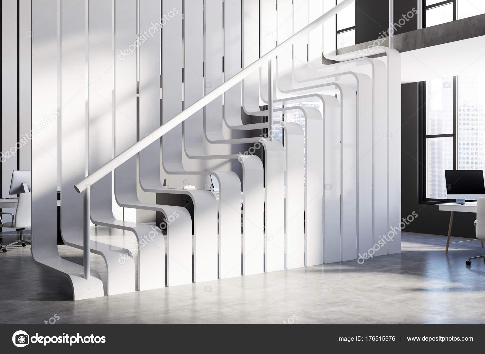Escalier blanc original dans un bureau u photographie