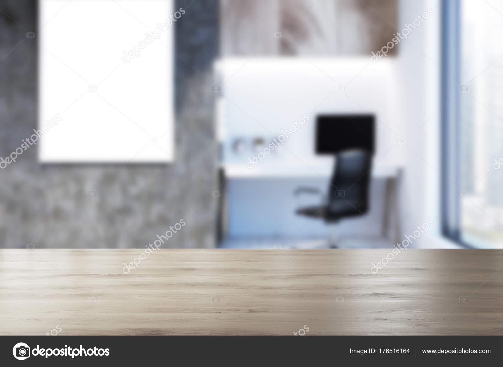 Béton et blanc bureau à domicile affiche floue u2014 photographie